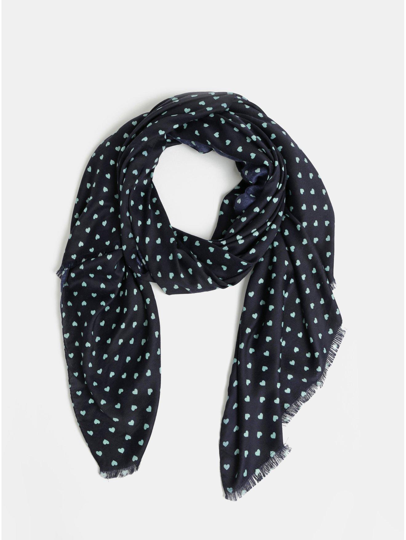 Tmavě modrý vzorovaný šátek VERO MODA Hearts 0d850ef102