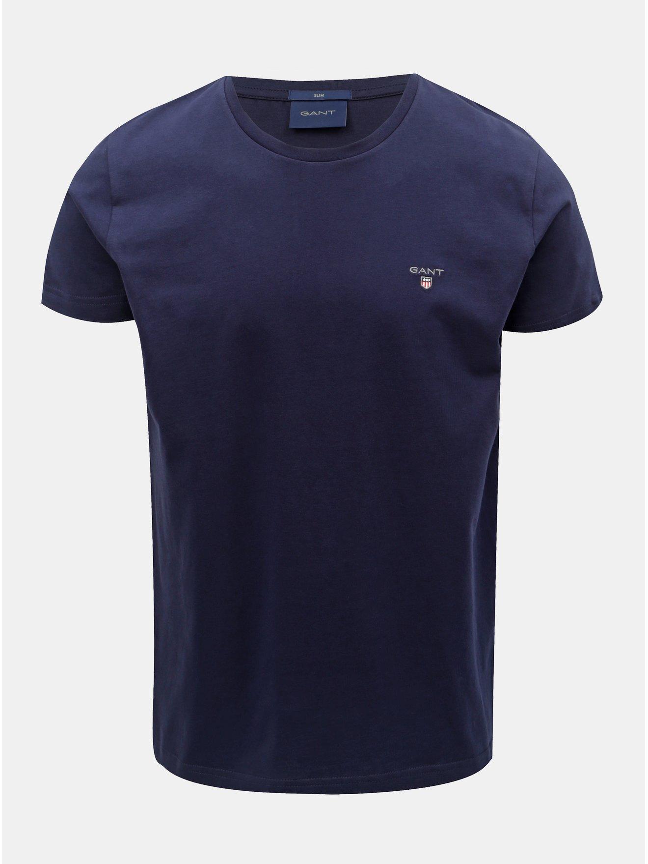 1df6f359c094 Tmavě modré pánské slim tričko GANT