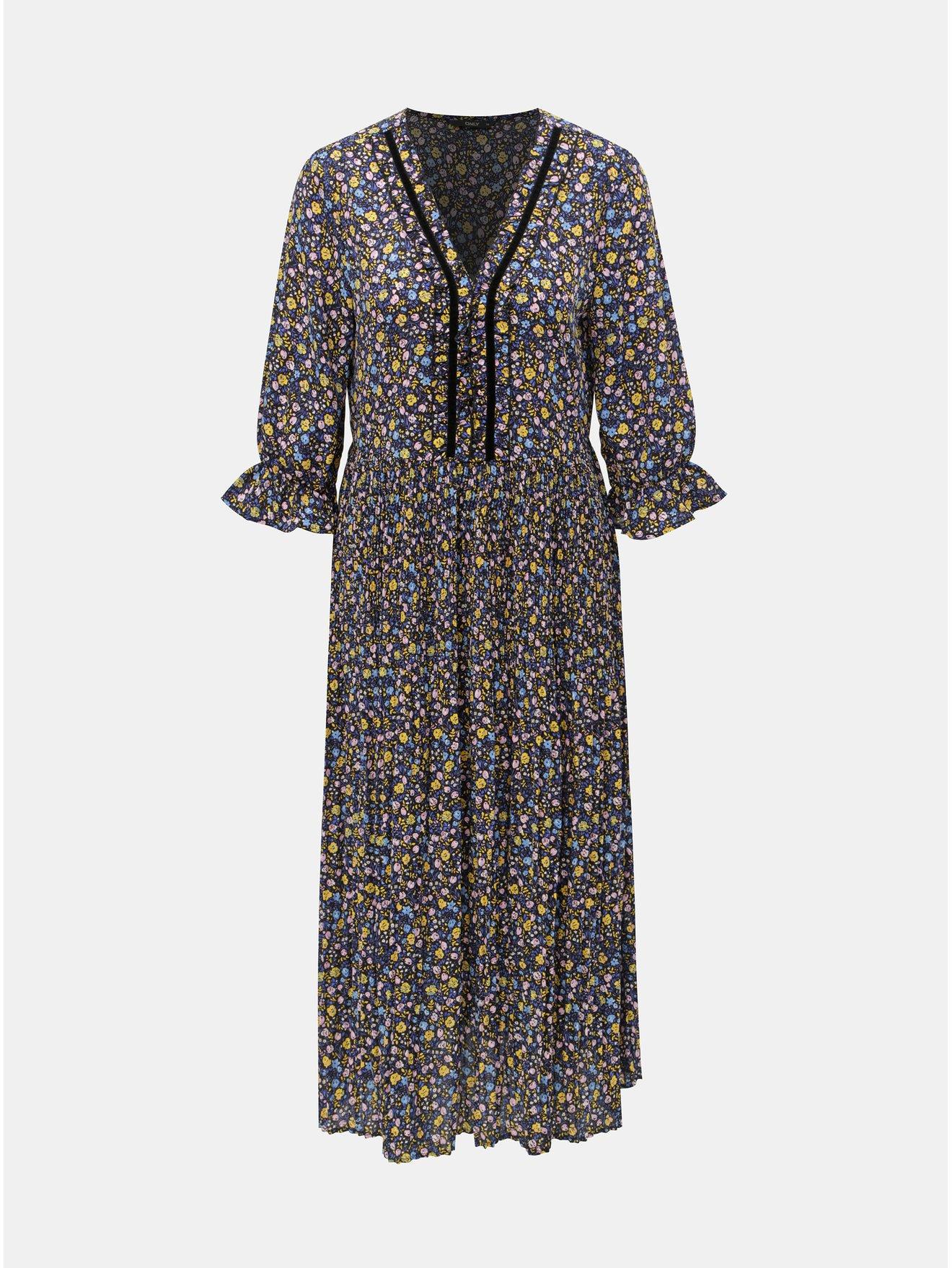 Žluto-modré květované plisované šaty ONLY Phoebe
