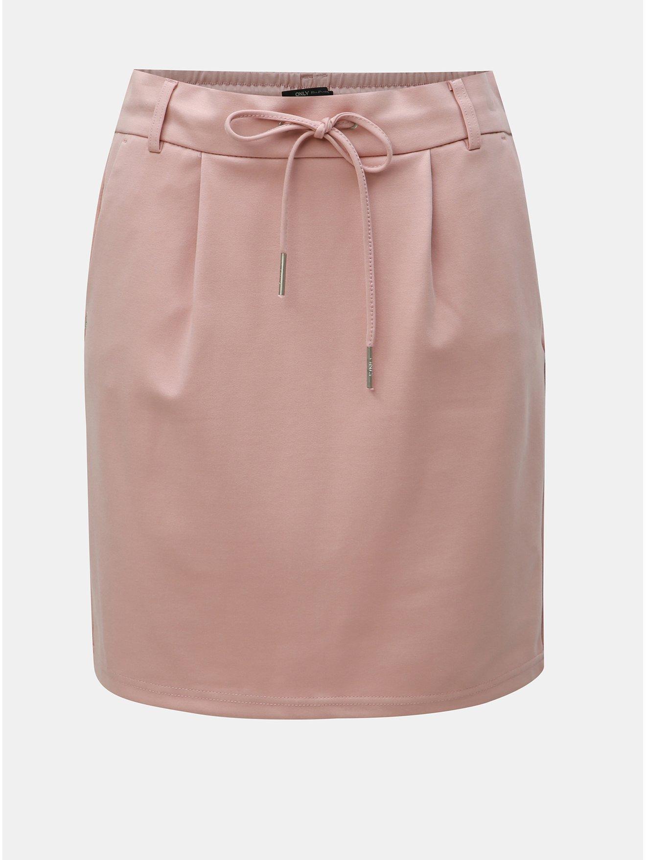 Světle růžová sukně ONLY Poptrash