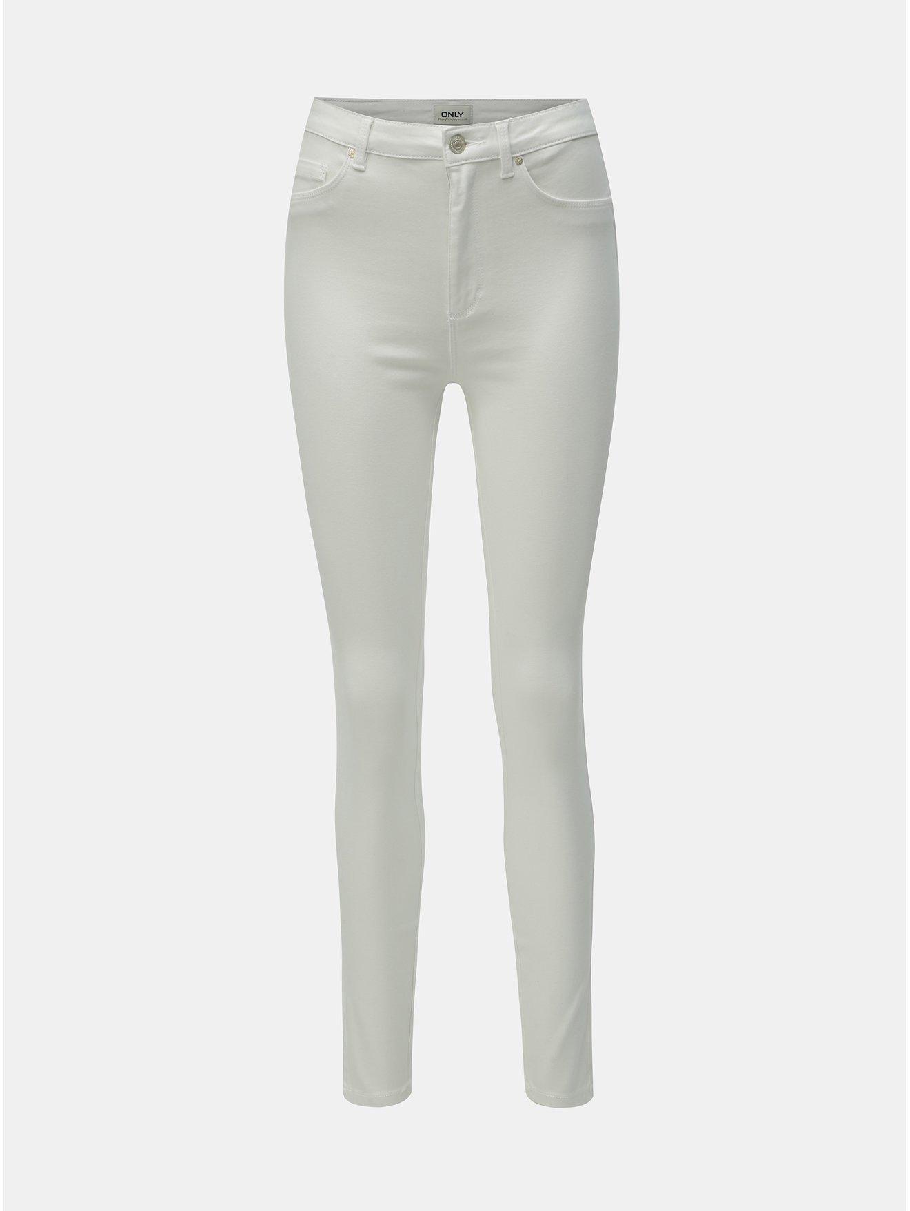 Bílé skinny fit džíny s vysokým pasem ONLY Royal