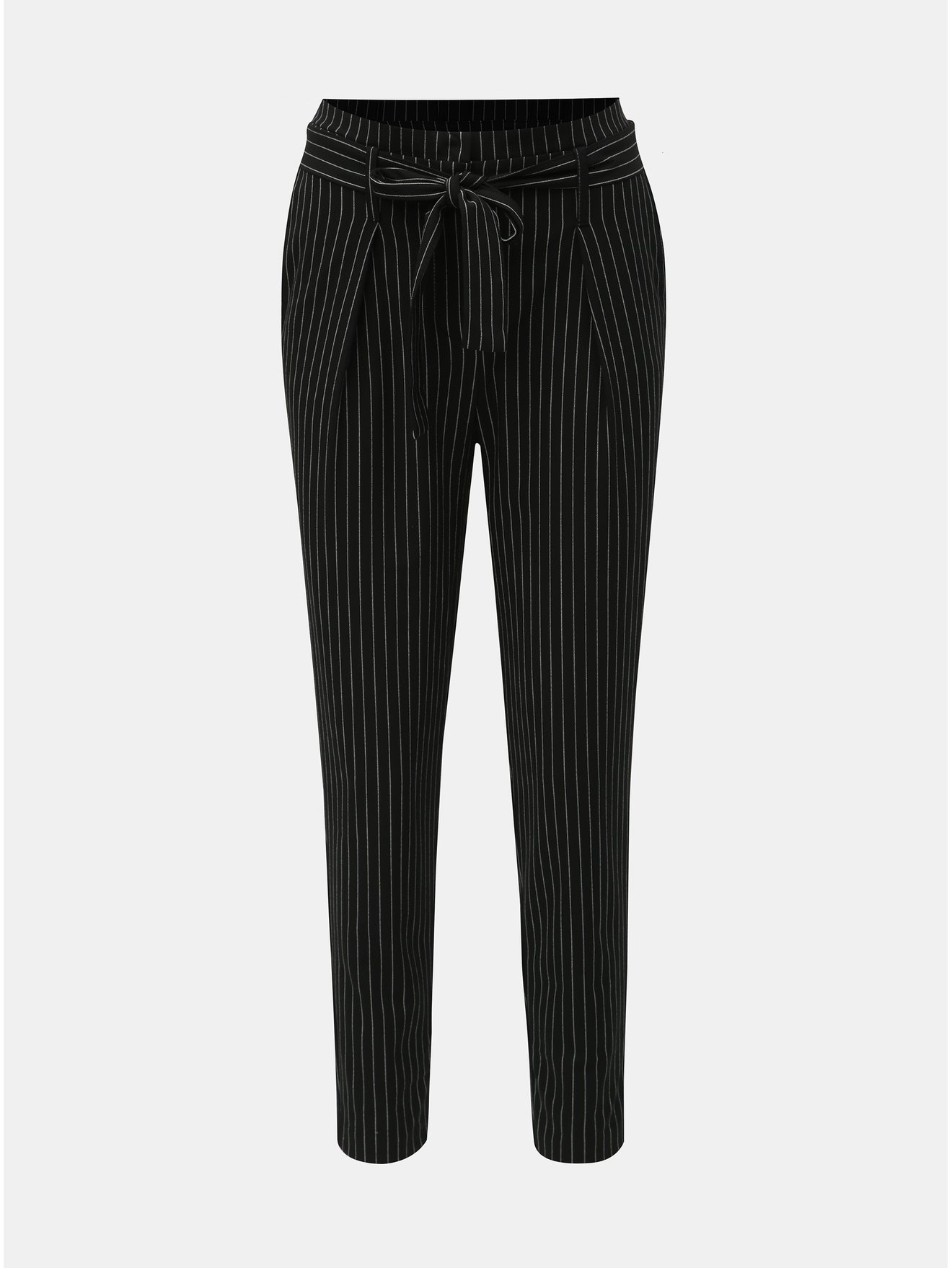 Černé pruhované kalhoty s vysokým pasem ONLY Nicole