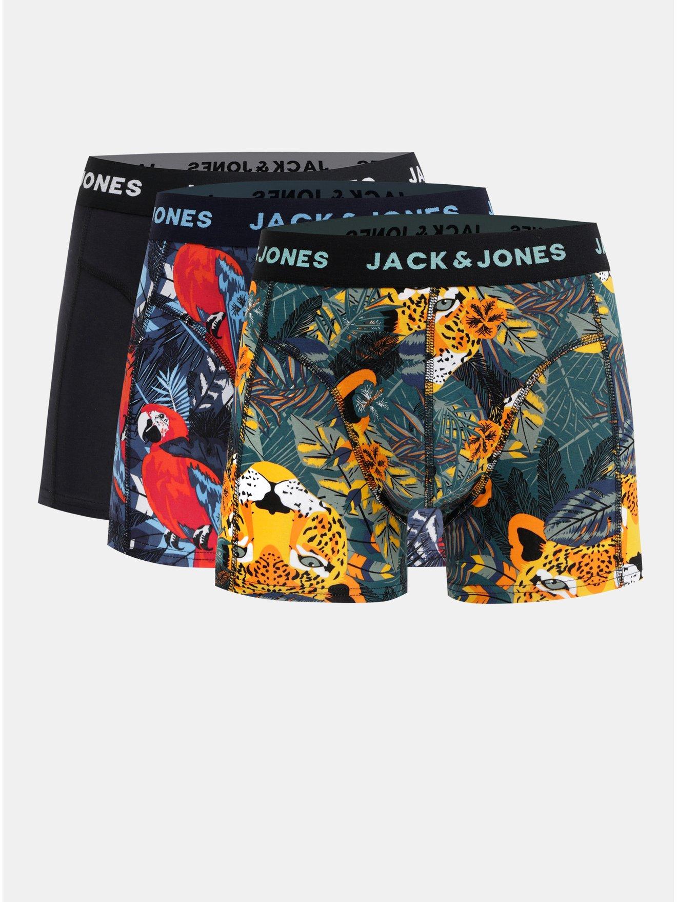 Sada tří vzorovaných boxerek v modré a černé barvě Jack & Jones Animals
