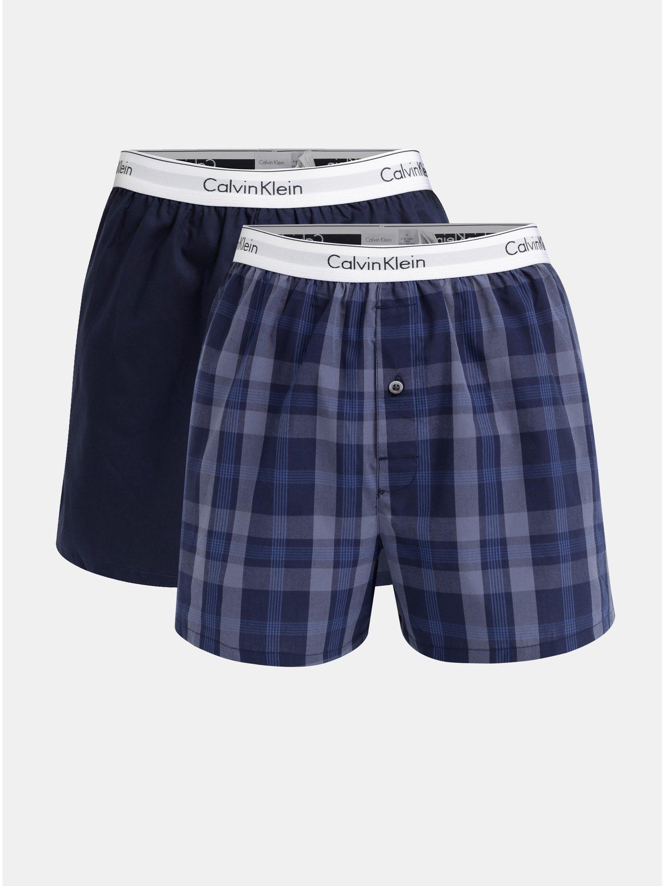 Sada dvou pánských modrých slim fit trenýrek Calvin Klein Underwear