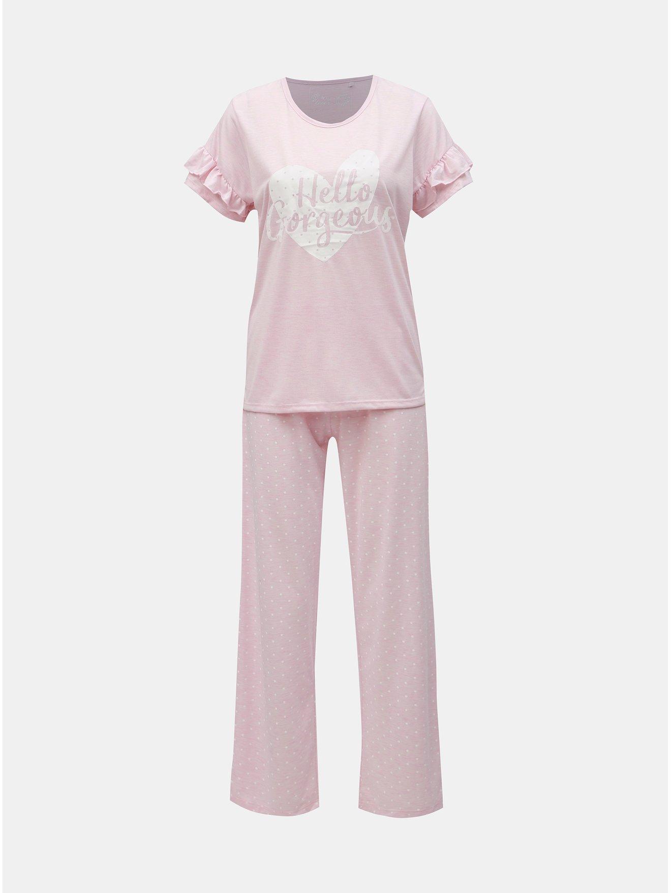 Fotografie Růžové žíhané dvoudílné pyžamo s potiskem M&Co