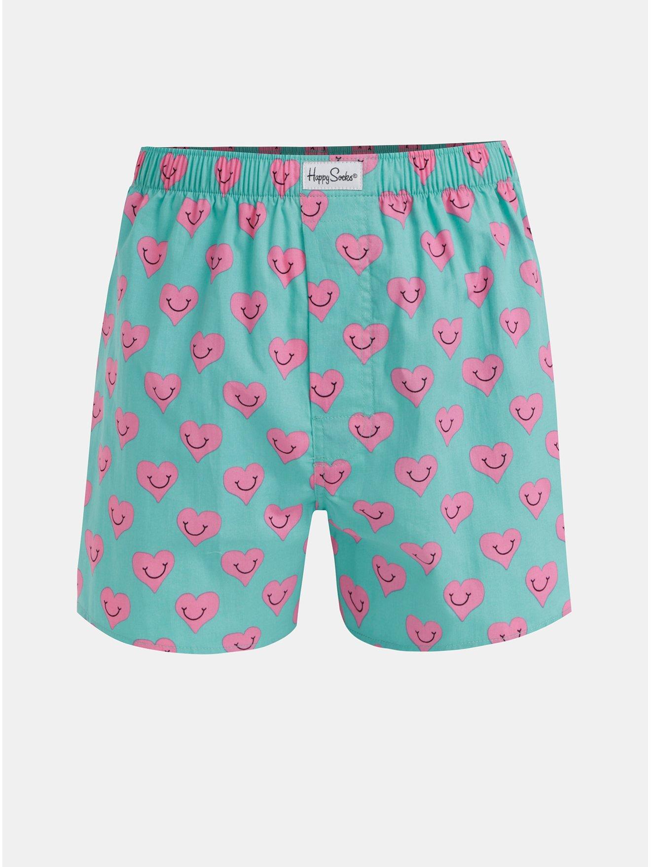 Růžovo-zelené trenýrky Happy Socks Smiley Heart