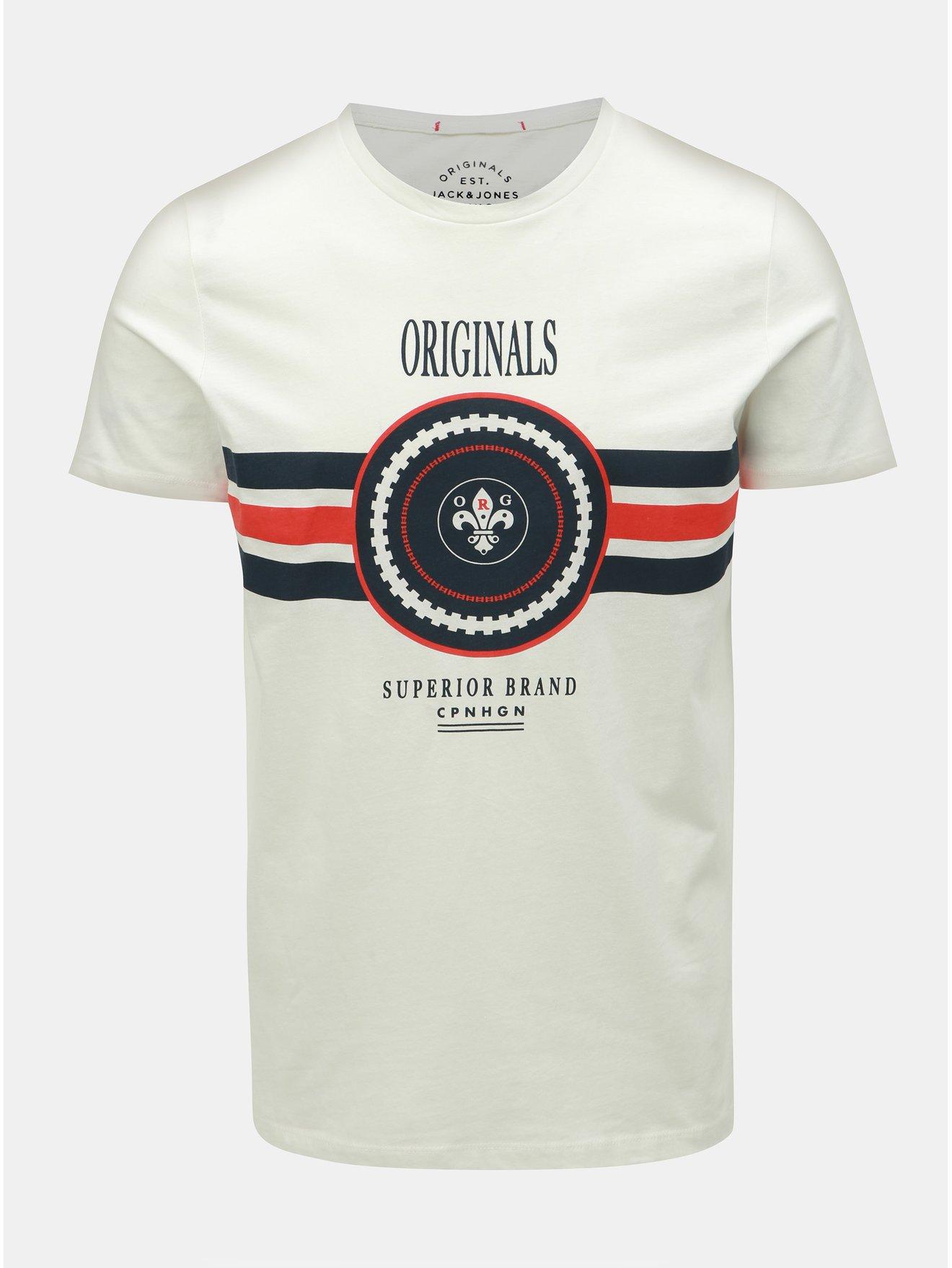 Bílé slim fit tričko s potiskem Jack & Jones Voyage