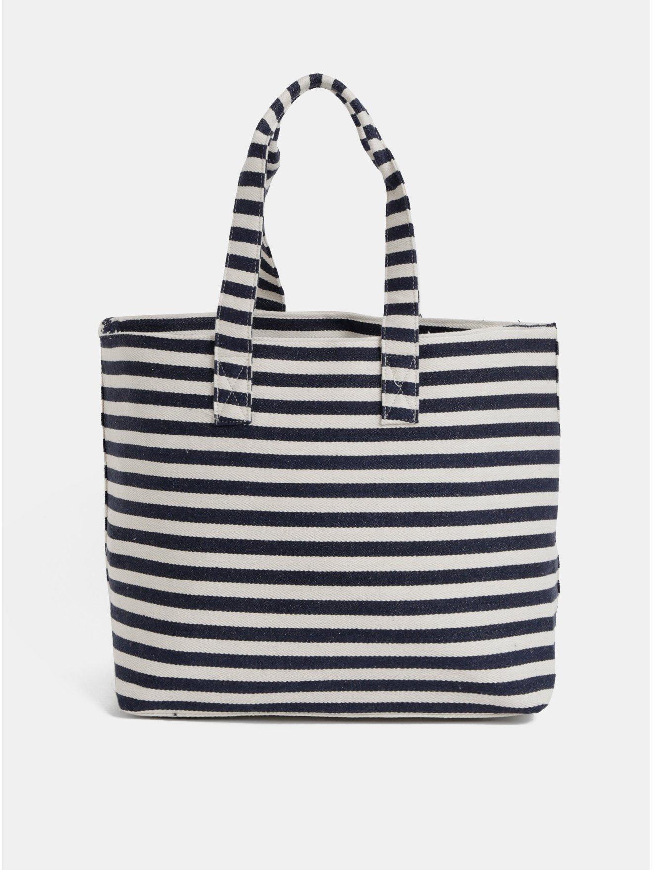 93149608ee Krémovo-modrá pruhovaná plážová taška Pieces Barbaro