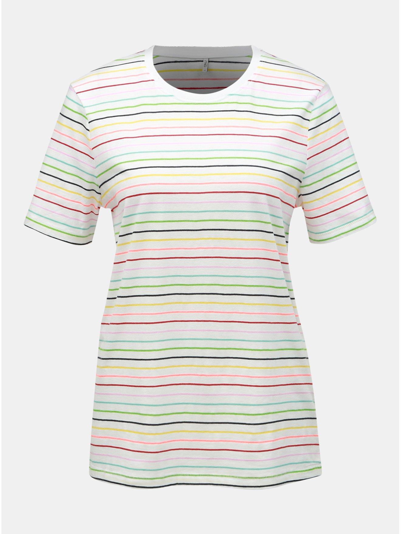 Bílé pruhované tričko ONLY Dotti
