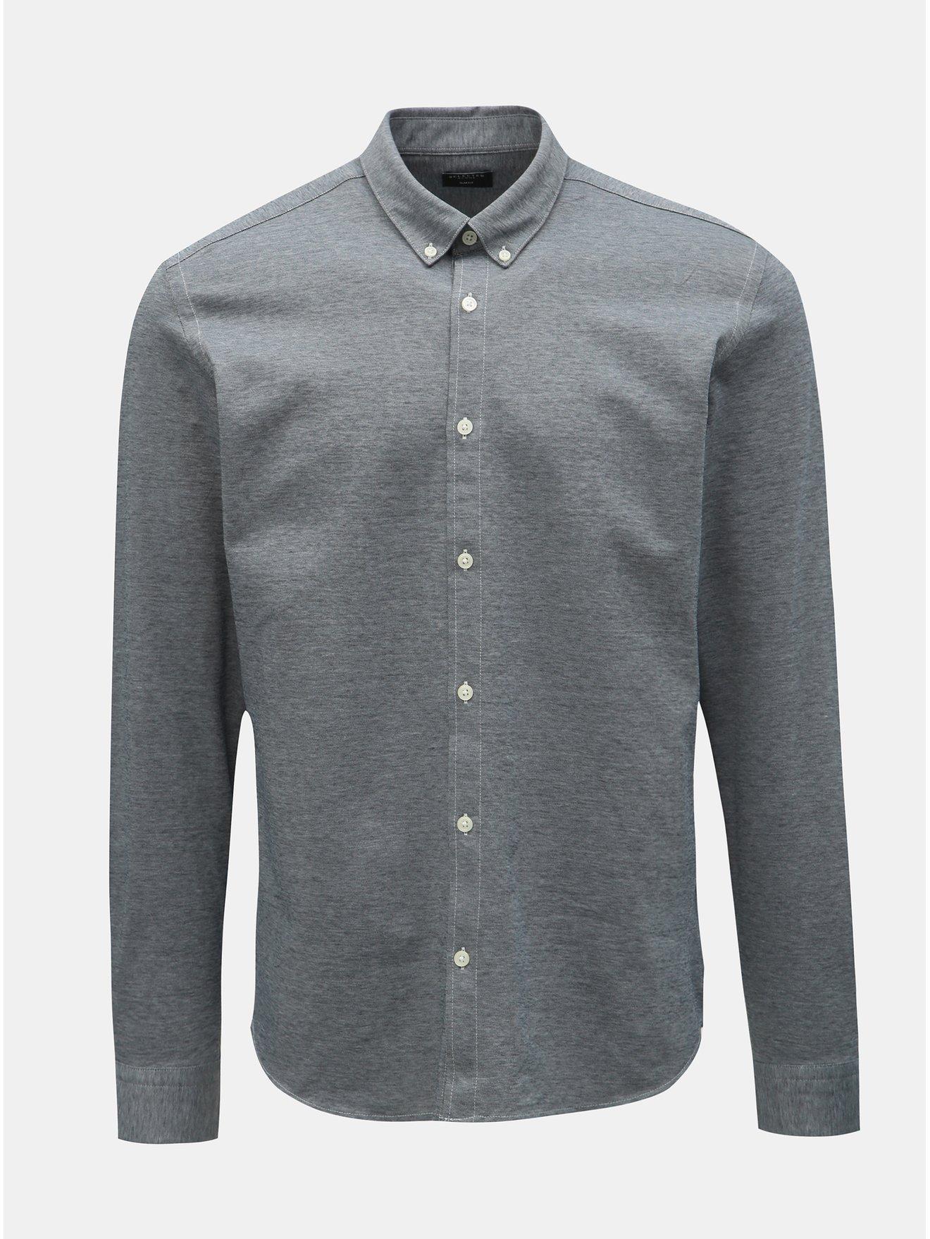 Šedá žíhaná formální slim fit košile Selected Homme