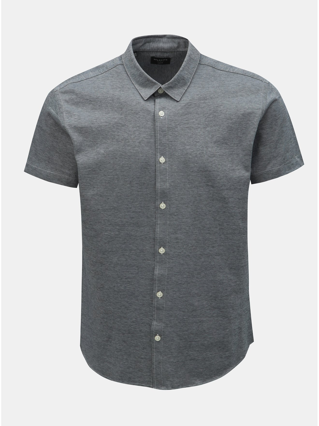 Šedá žíhaná slim fit košile s krátkým rukávem Selected Homme
