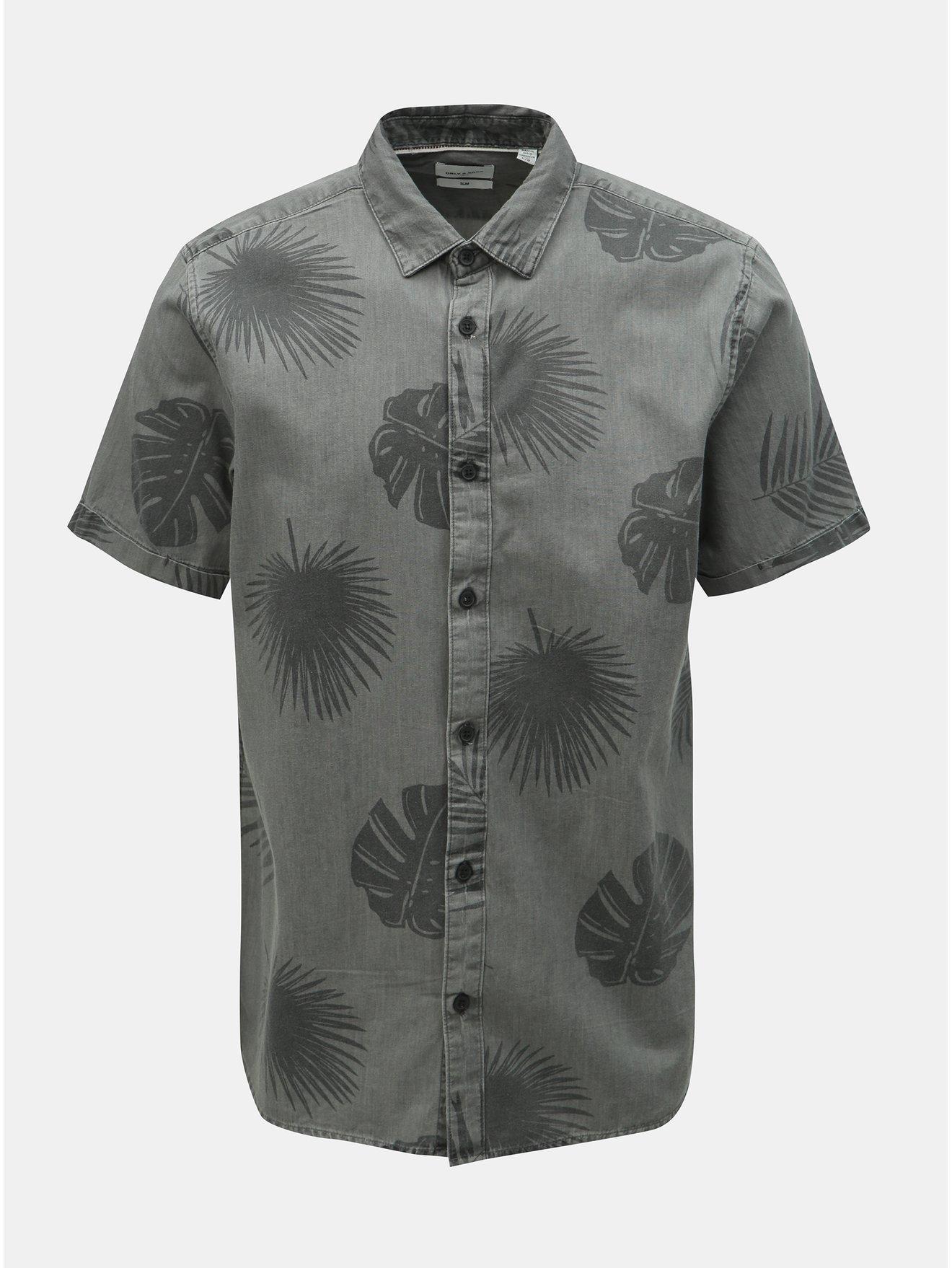 Šedá vzorovaná slim fit košile ONLY & SONS Simon