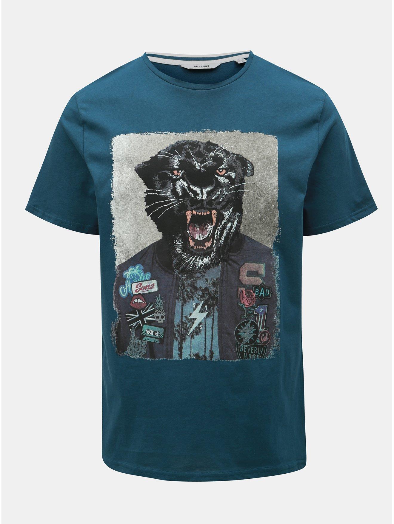 Modré tričko s potiskem ONLY & SONS Loris