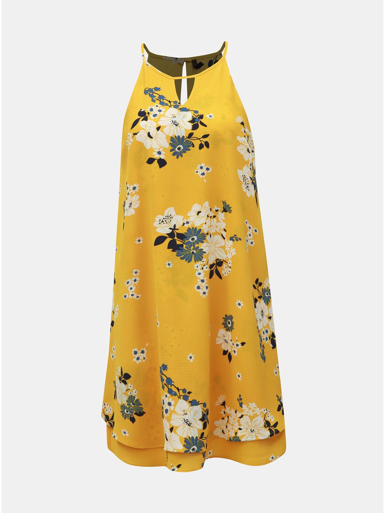 Žluté květované šaty s průstřihy ONLY Mariana