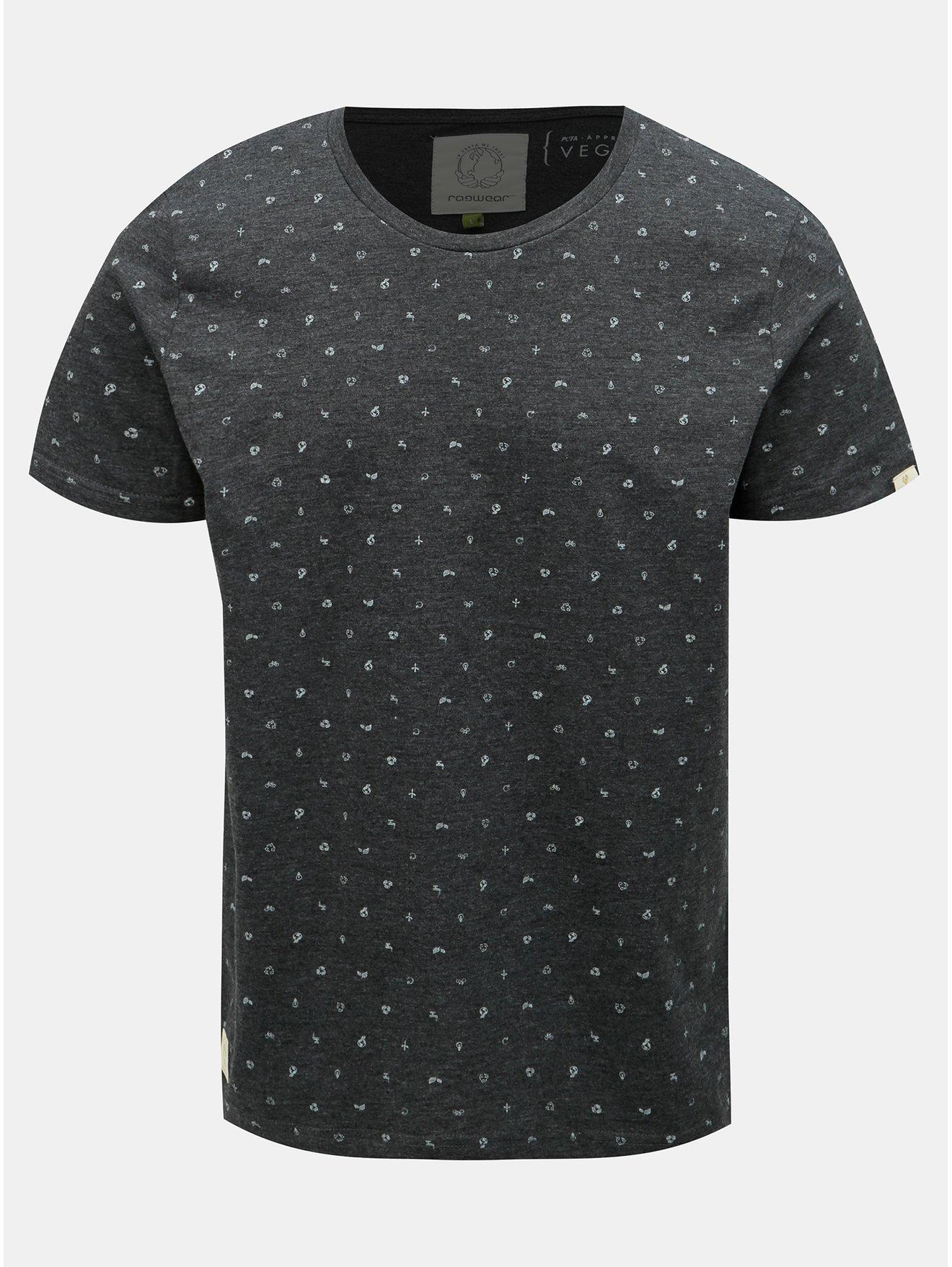 Tmavě šedé pánské vzorované tričko Ragwear Romare Organic
