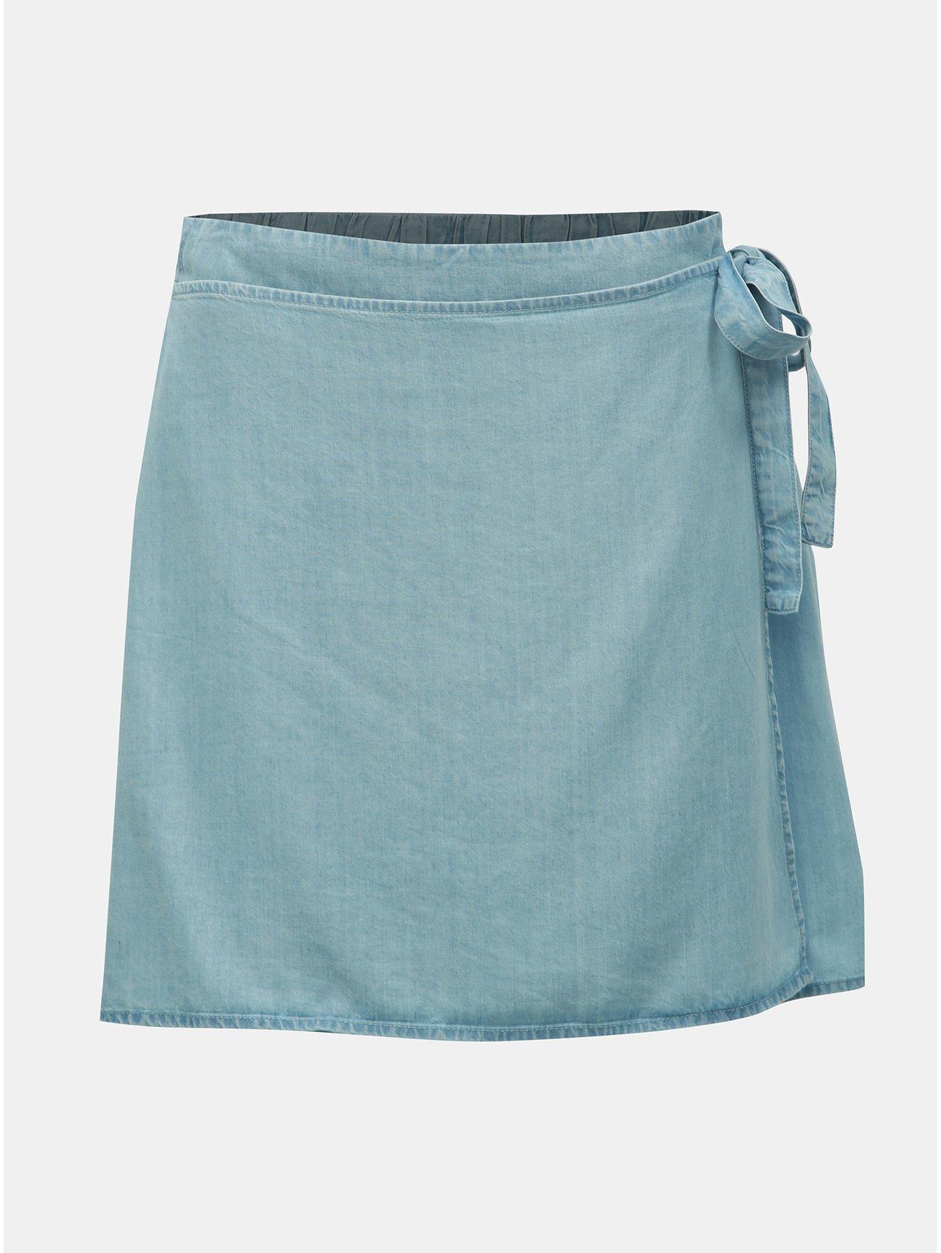 Světle modrá zavinovací sukně Noisy May Endi
