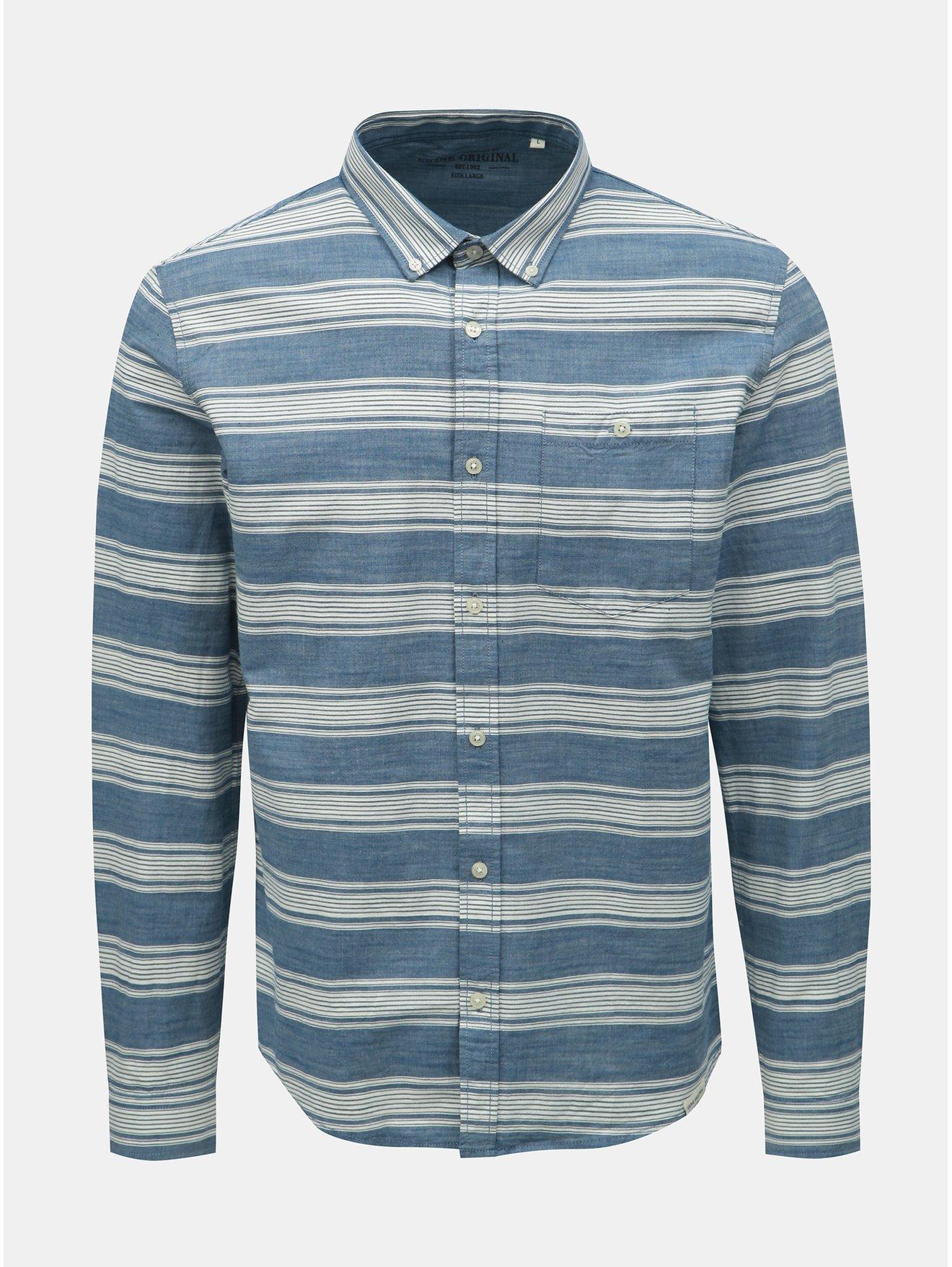 Bílo-modrá pruhovaná košile Shine Original