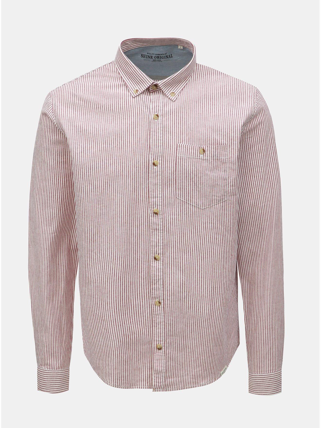 Vínovo-bílá pruhovaná košile Shine Original
