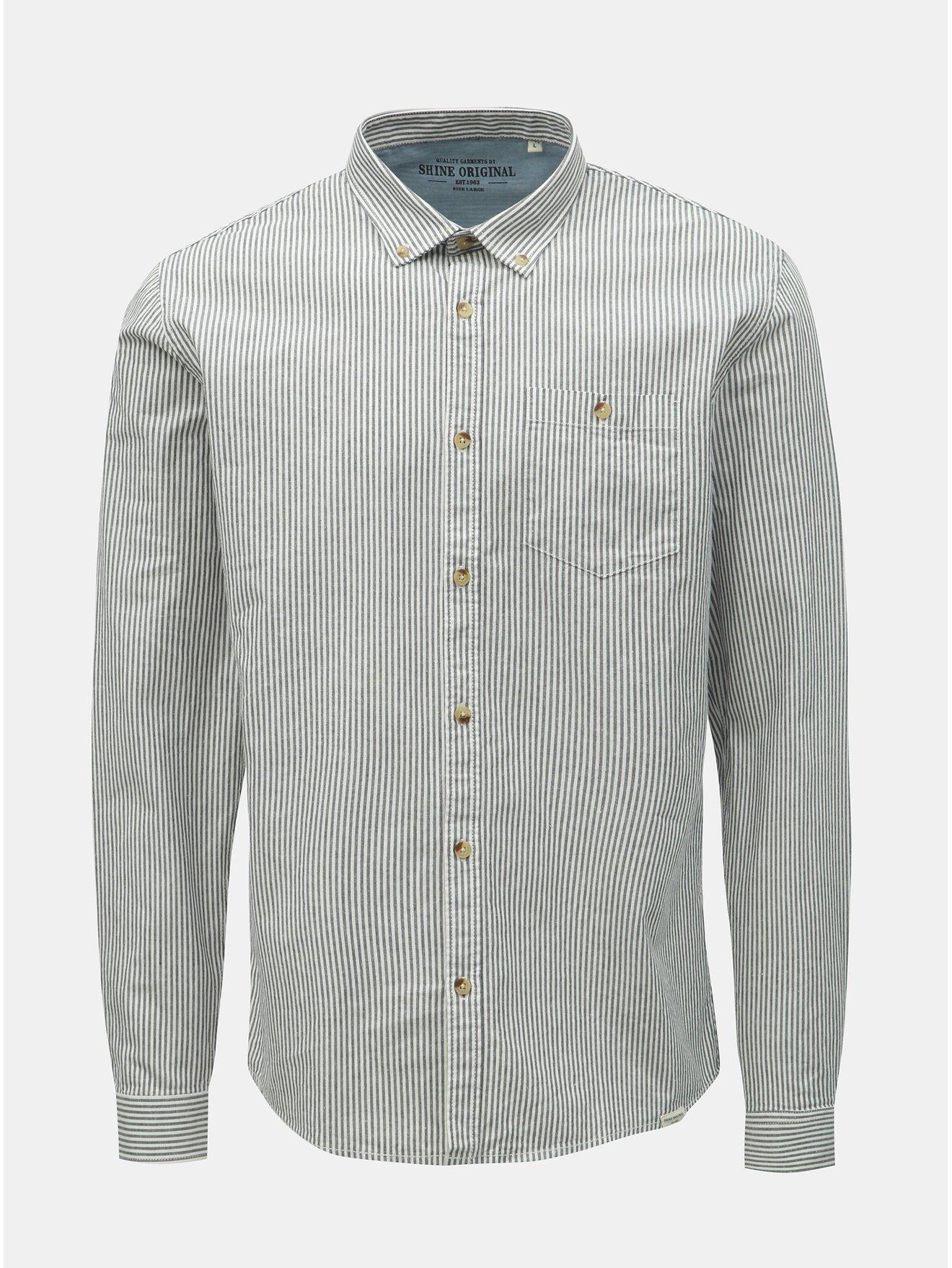 Šedo-bílá pruhovaná košile Shine Original