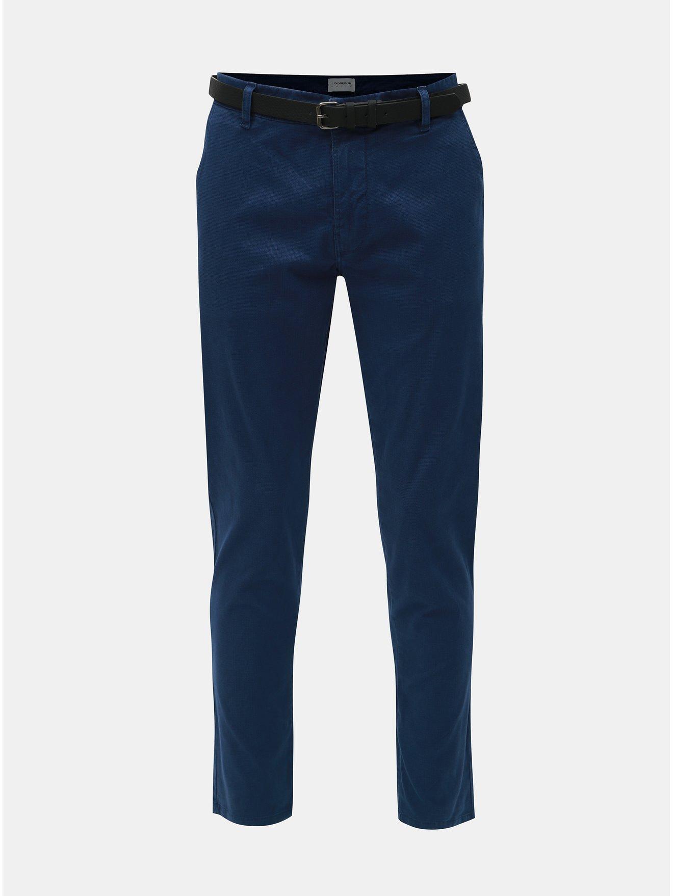 Tmavě modré chino kalhoty s páskem Lindbergh