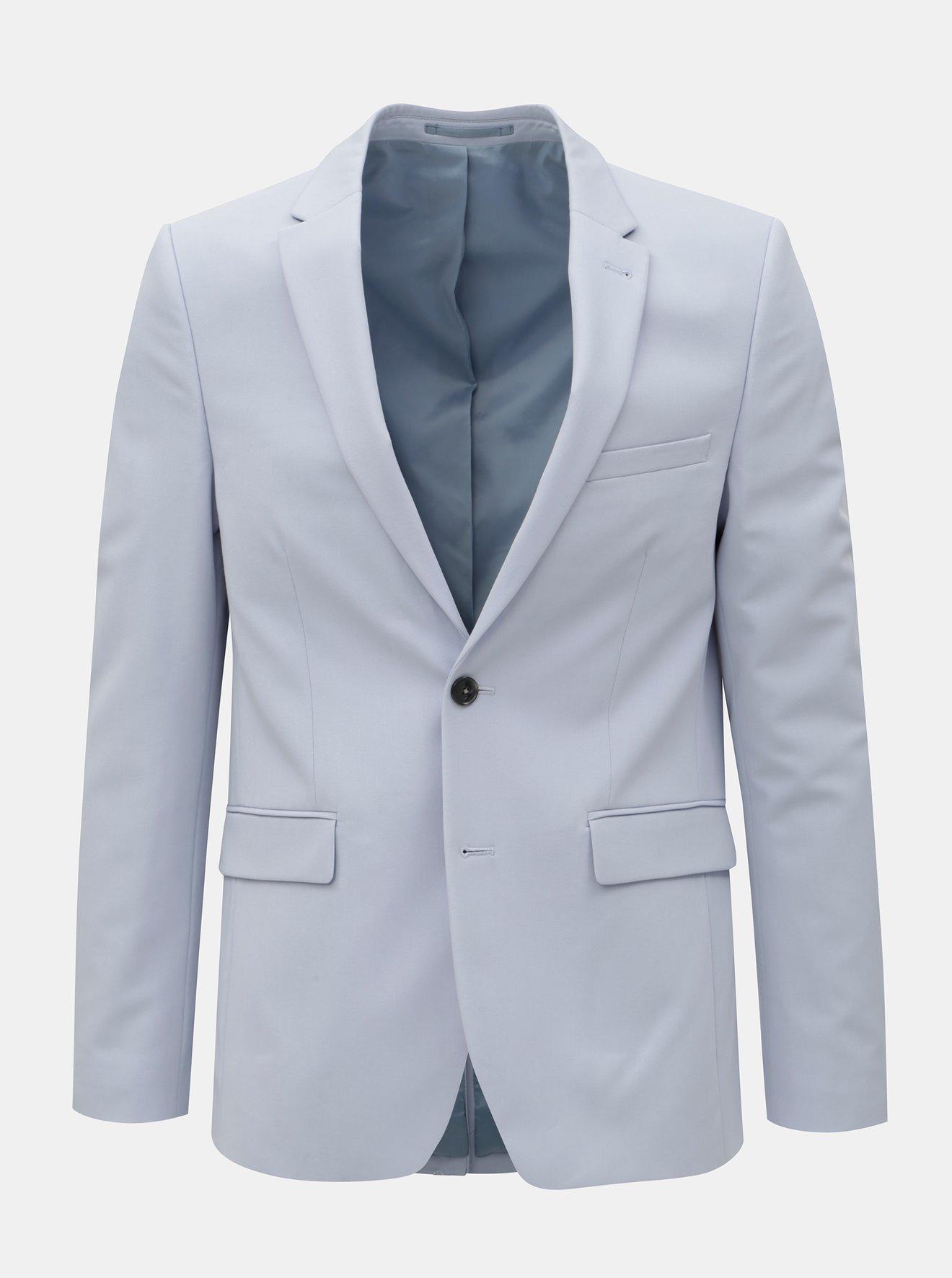 Světle modré oblekové skinny fit sako Burton Menswear London