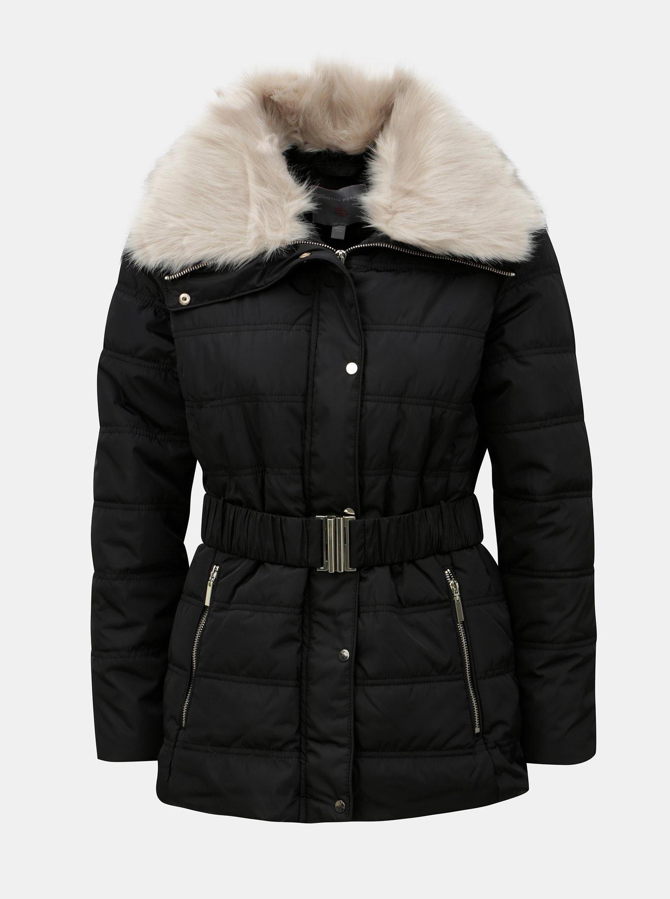 Černá zimní bunda s odnímatelným límcem z umělého kožíšku Dorothy Perkins Petite