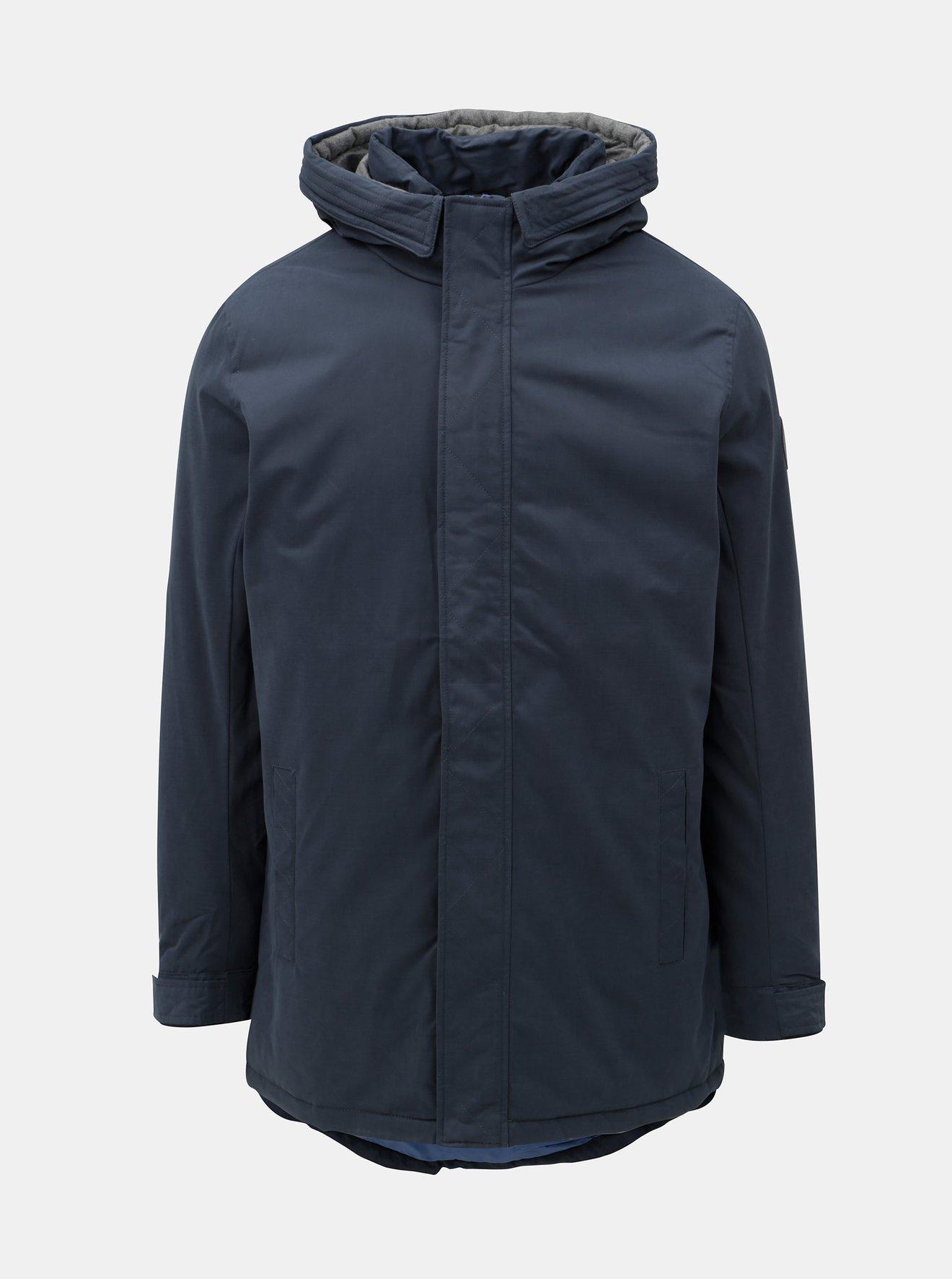 Tmavě modrá zimní bunda s prodlouženou délkou ONLY & SONS Ethan