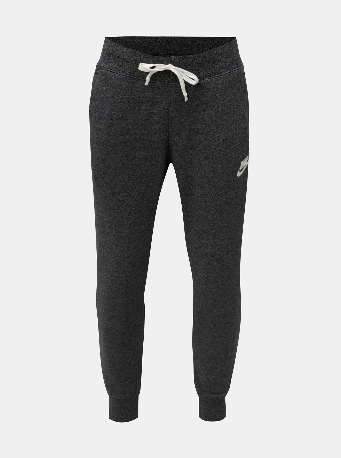Tmavě šedé pánské žíhané tepláky s kapsami Nike Heritage