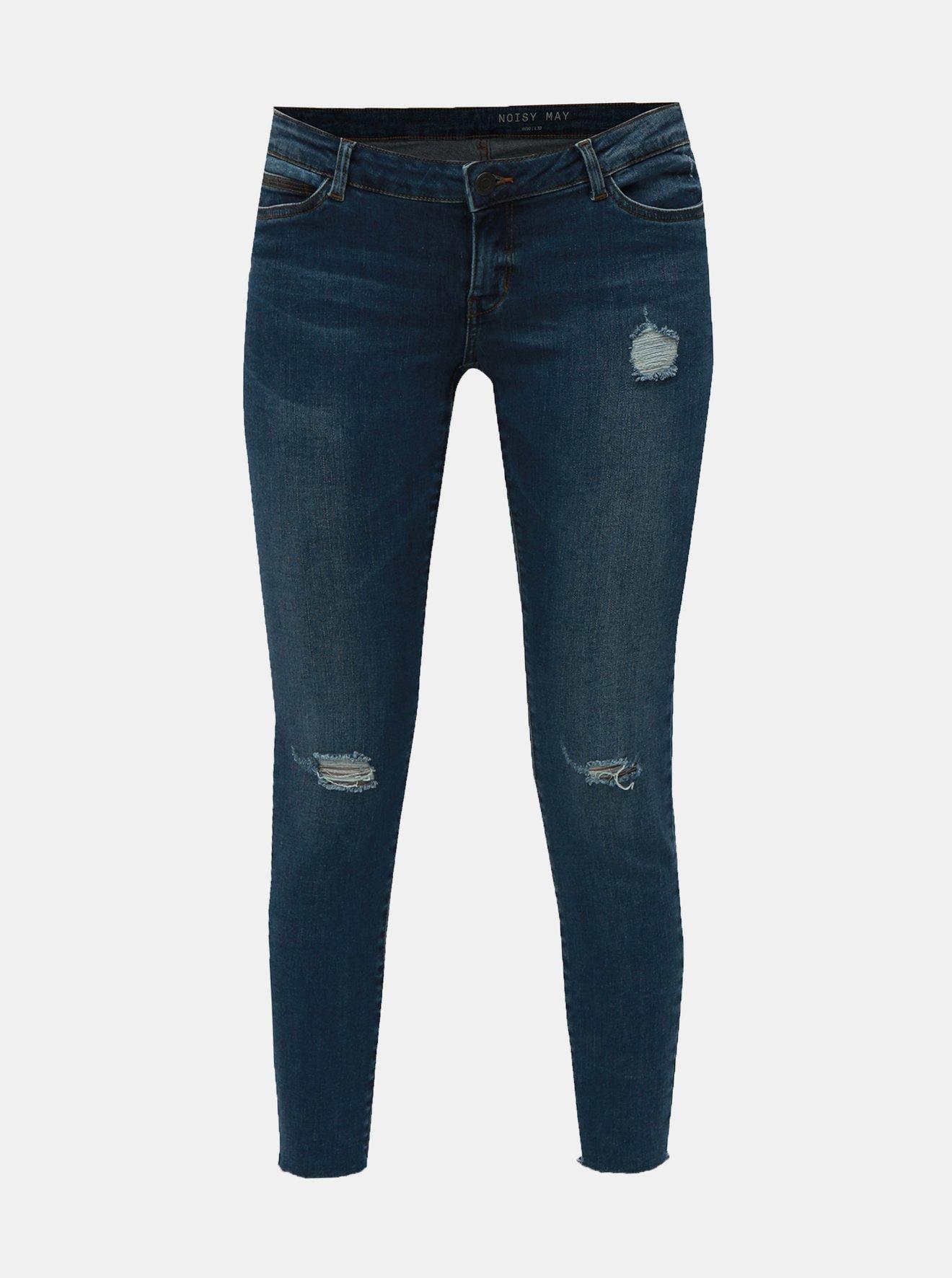 Modré zkrácené skinny džíny s nízkým pasem Noisy May Eve