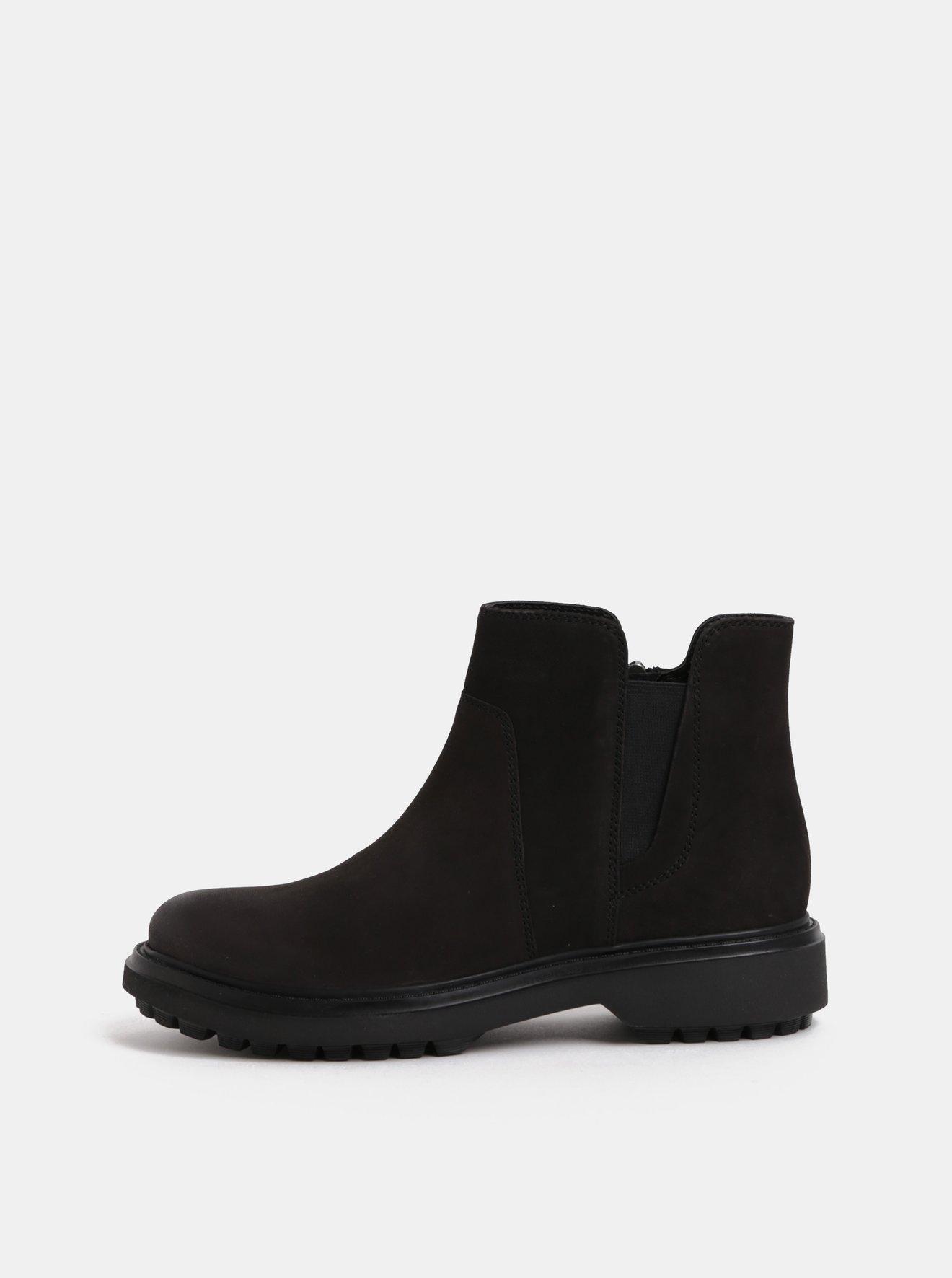 Černé dámské semišové kotníkové boty Geox Asheely