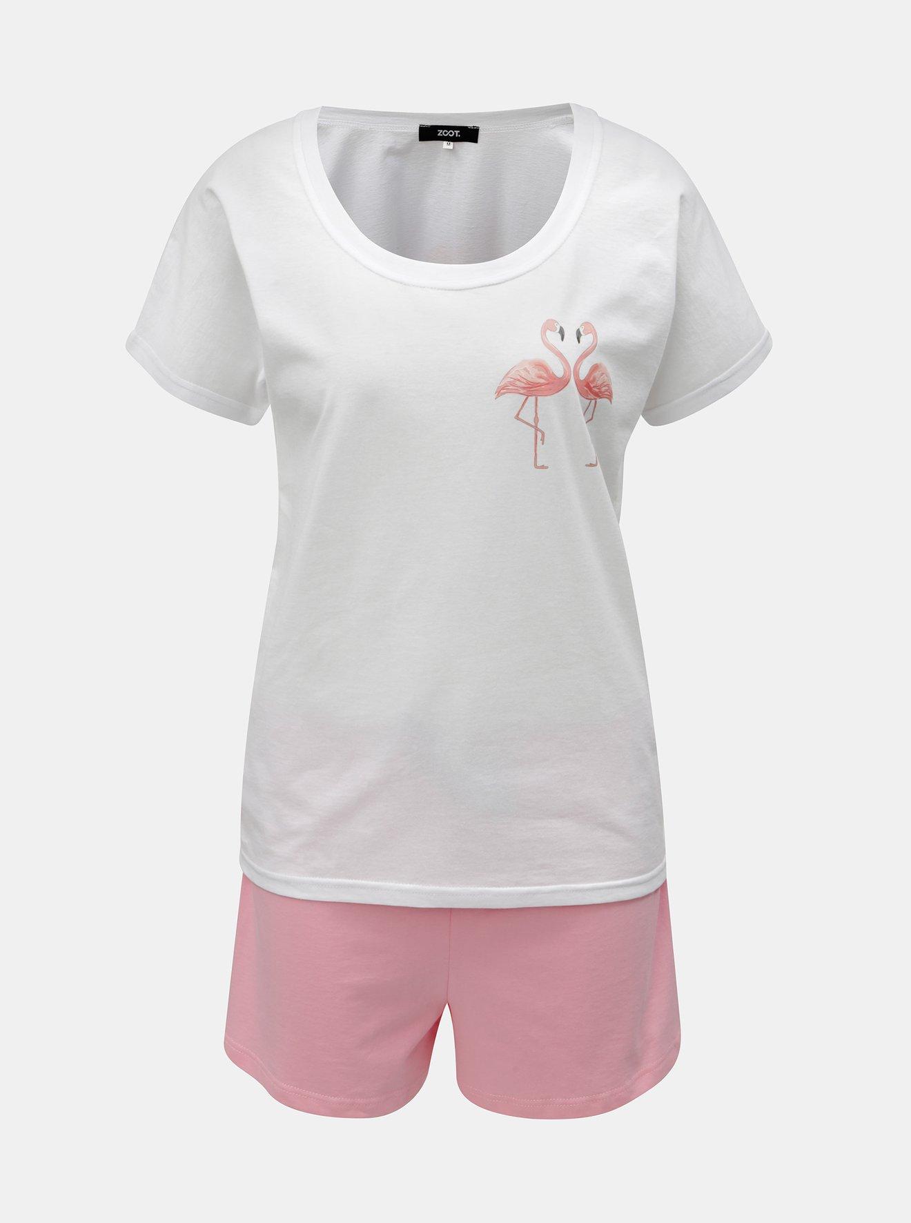 Růžovo-bílé dámské dvoudílné pyžamo s motivem plameňáků ZOOT