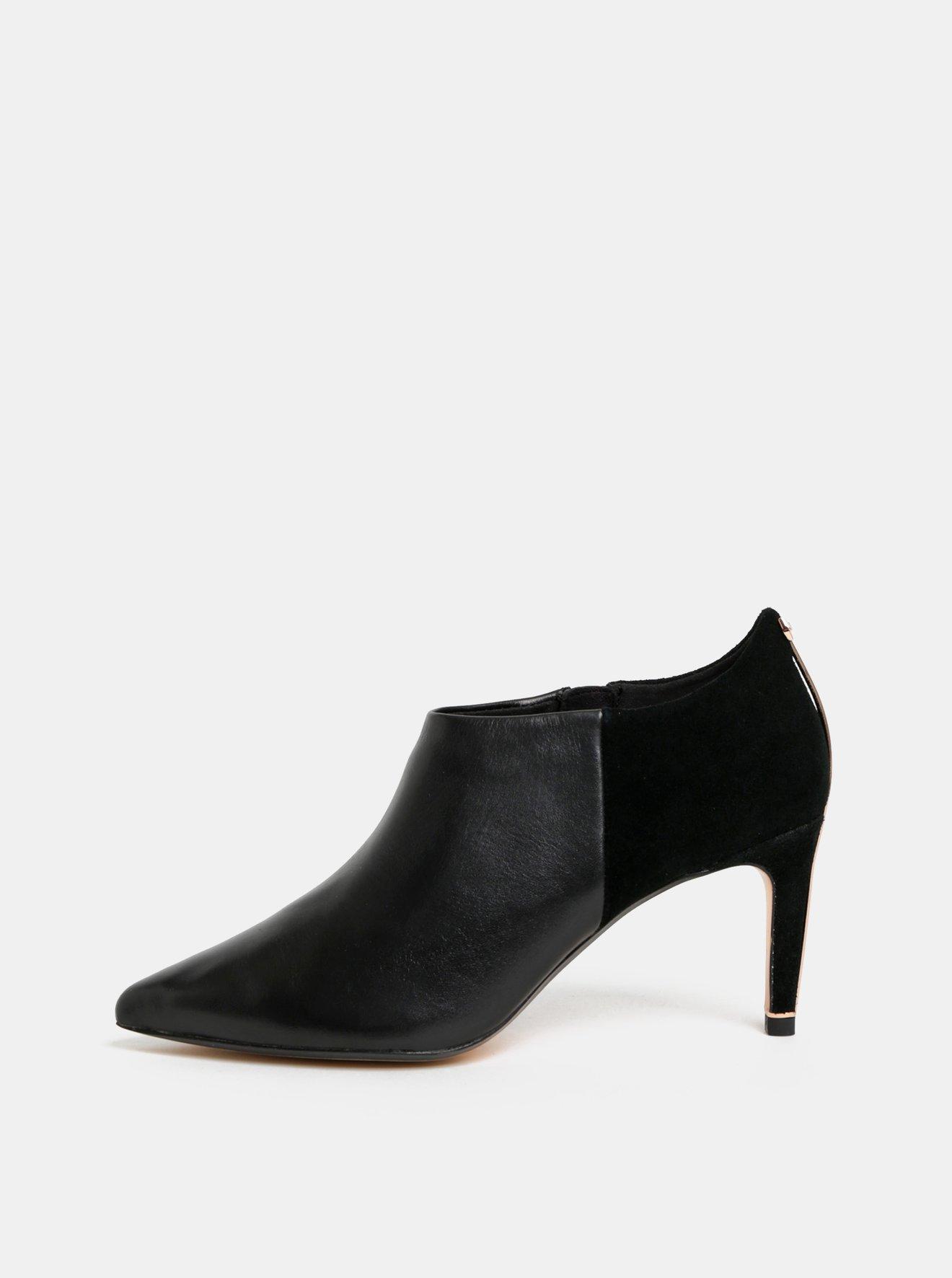 Černé kožené kotníkové boty se semišovými detaily Ted Baker Akasha