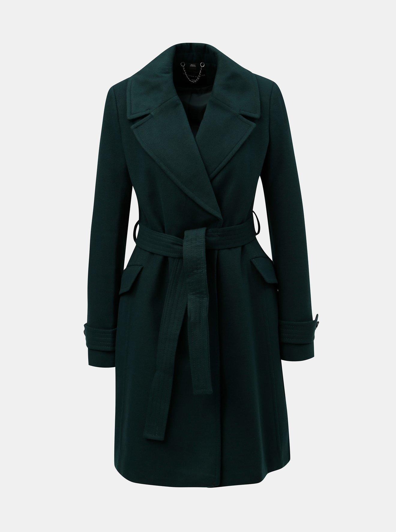 Tmavě zelený lehký kabát s páskem Dorothy Perkins