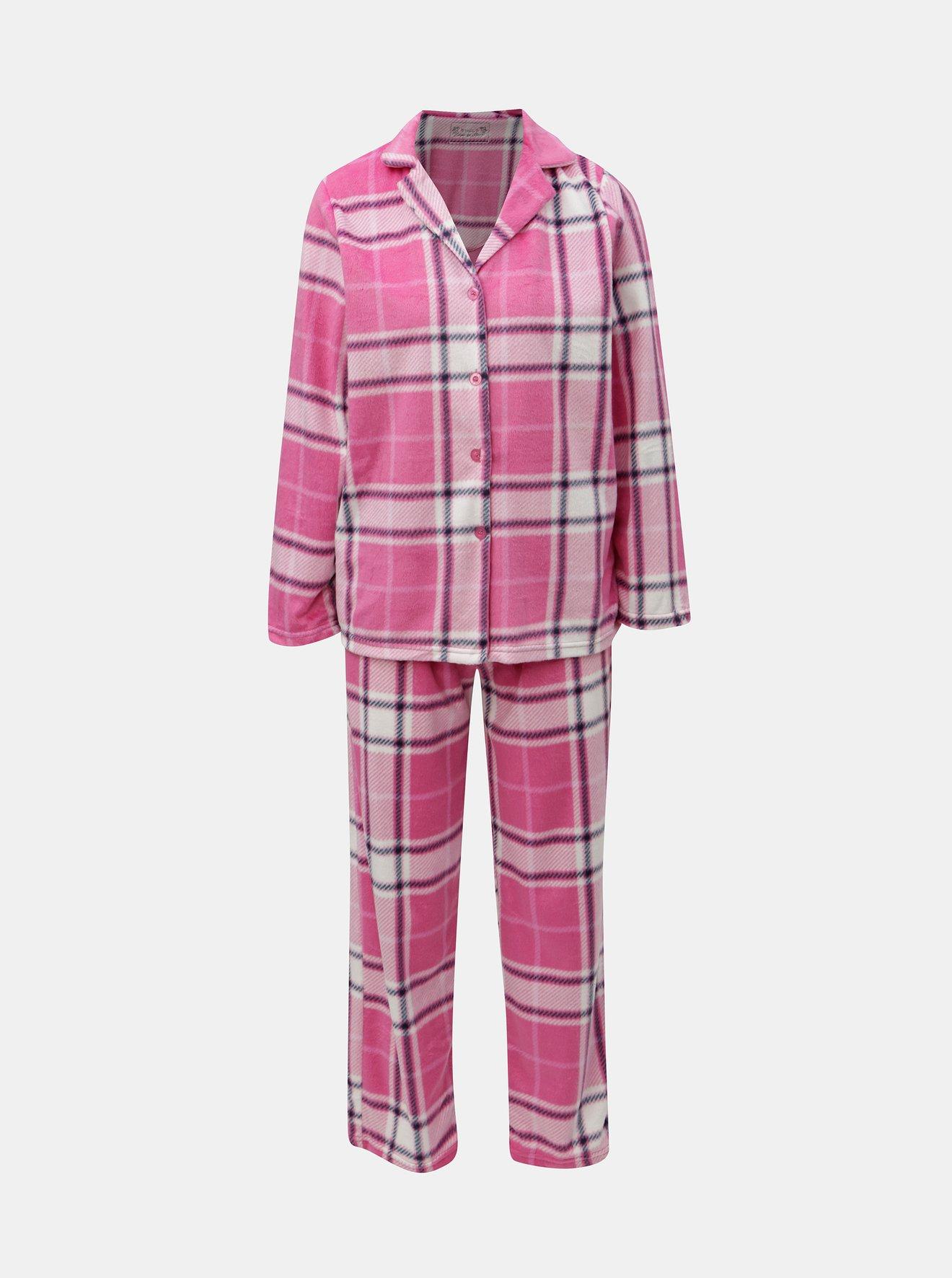 Růžové kostkované dvoudílné pyžamo M&Co