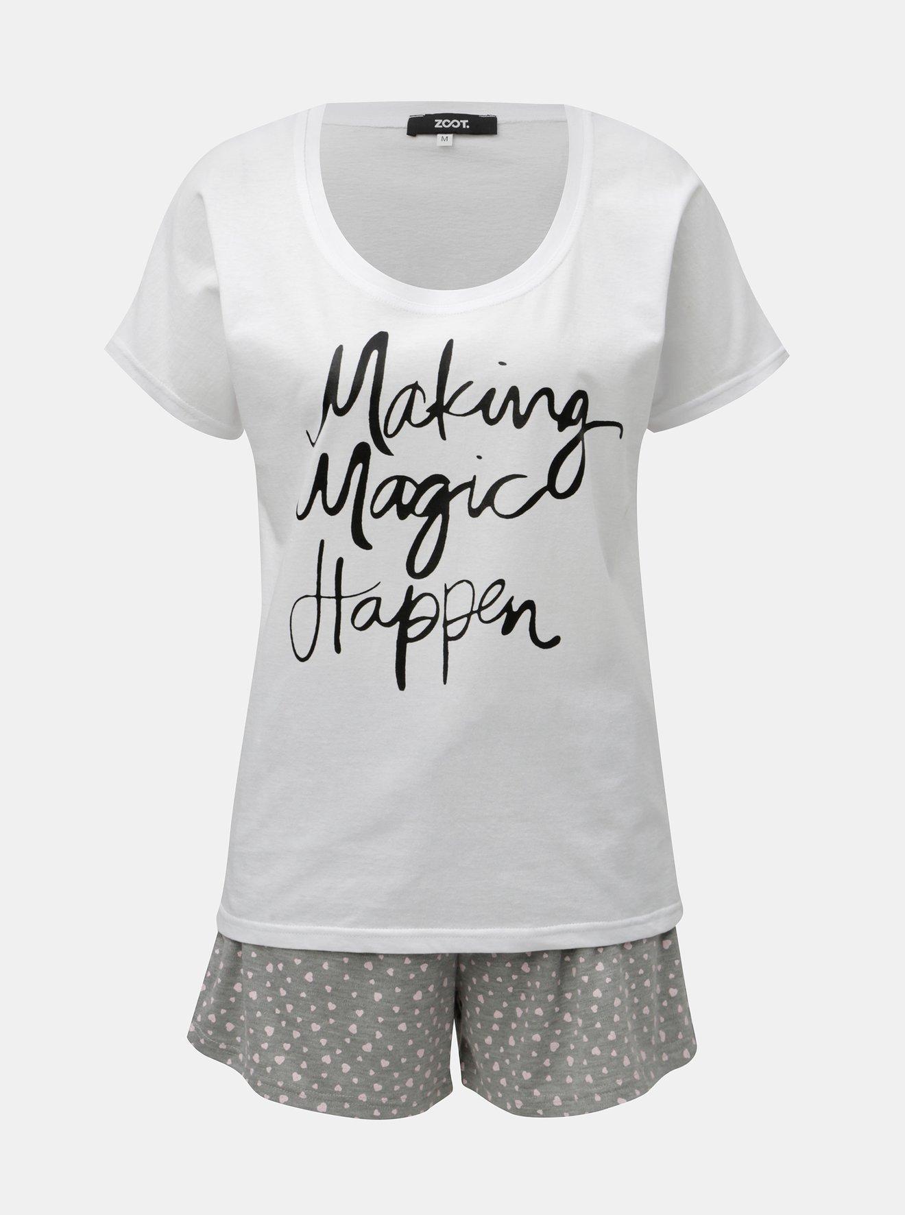 Šedo-bílé dámské dvoudílné pyžamo s potiskem ZOOT