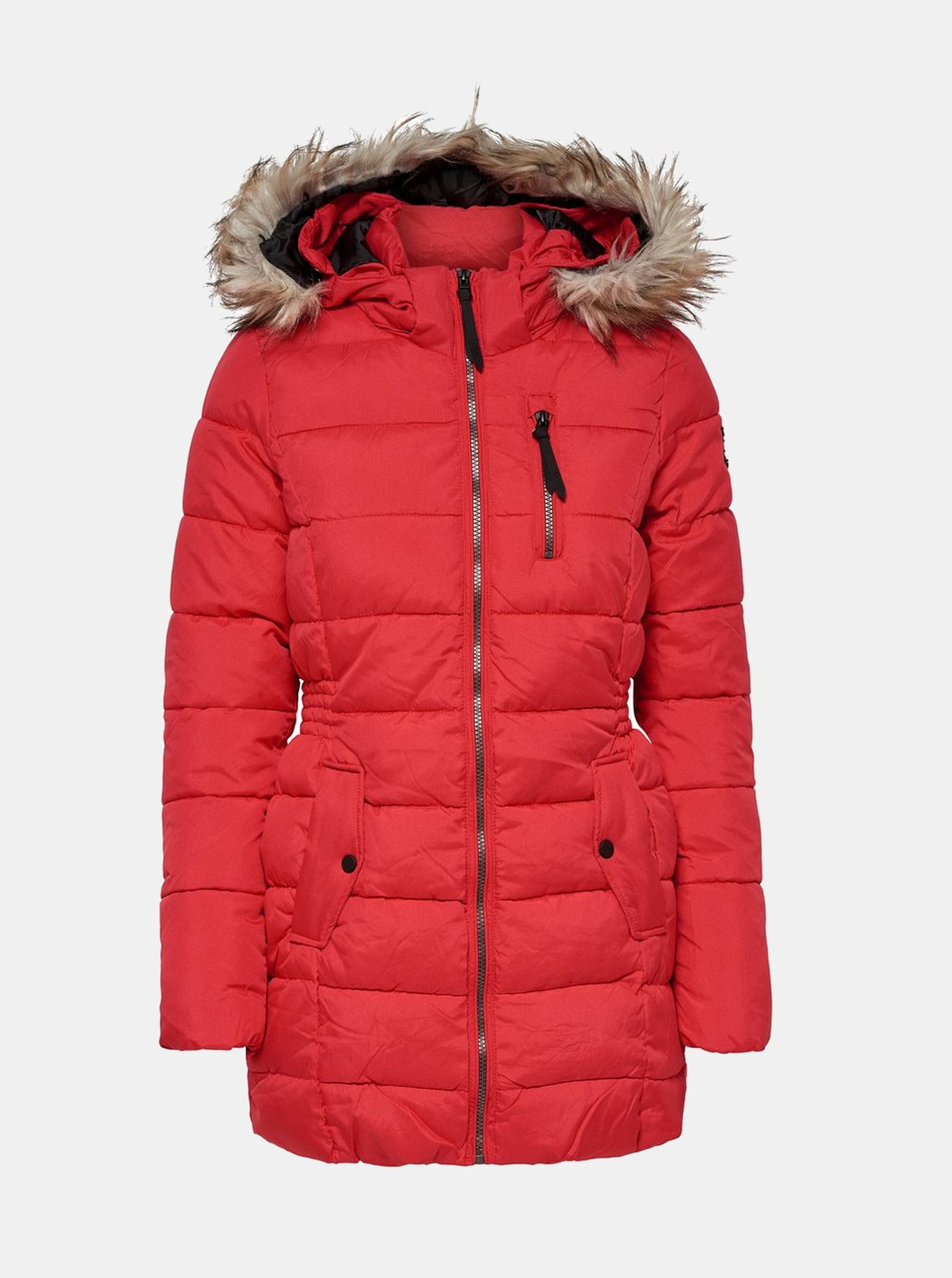 Červený prošívaný kabát s umělým kožíškem ONLY North