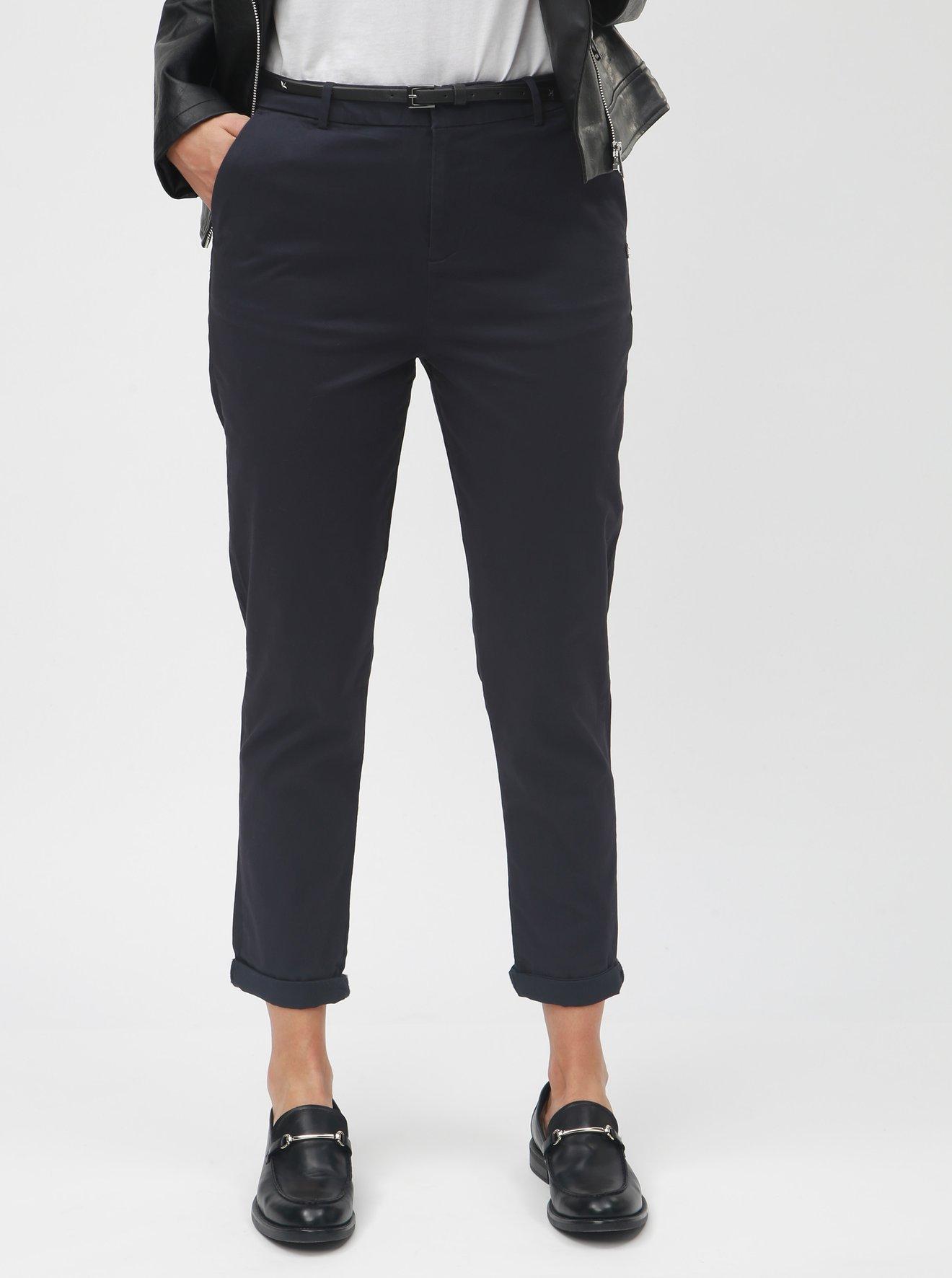 Tmavě modré chino kalhoty s vysokým pasem Scotch & Soda