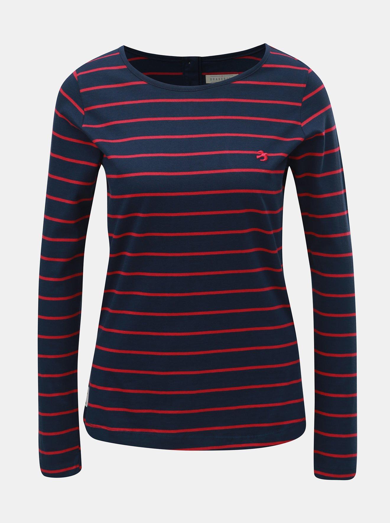 Růžovo-modré dámské pruhované tričko Brakeburn