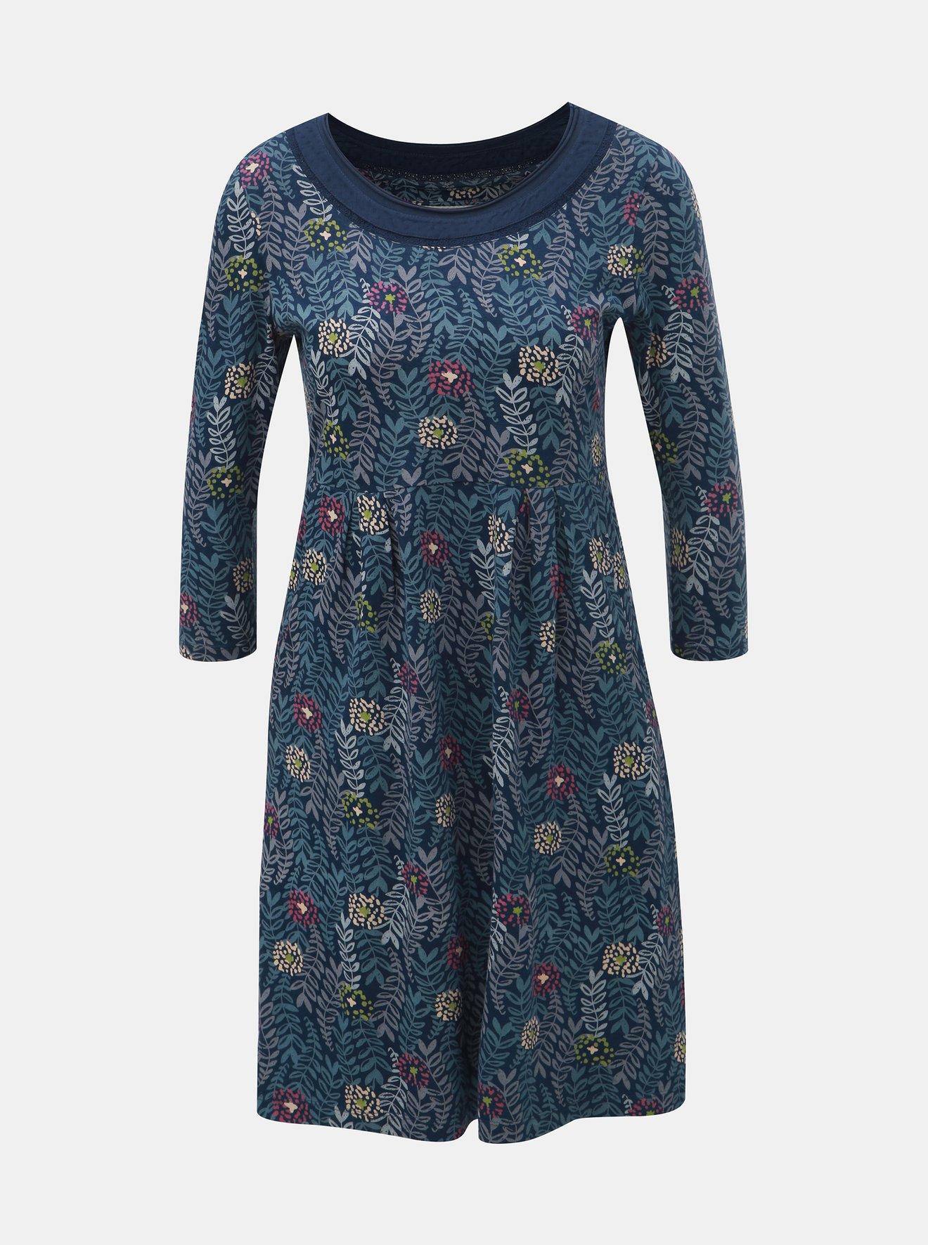 Tmavě modré květované šaty s 3/4 rukávem Brakeburn