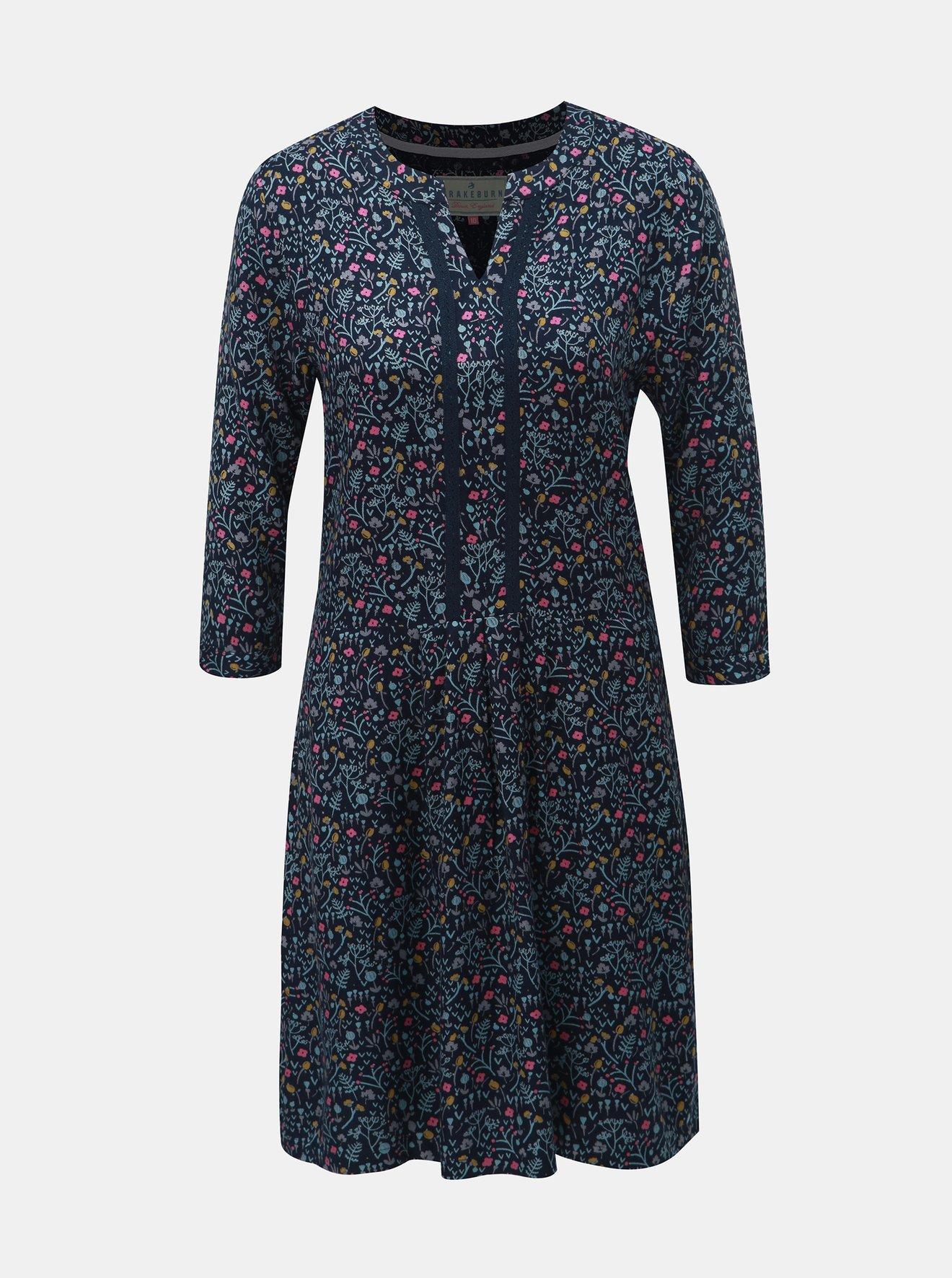 Tmavě modré květované šaty Brakeburn
