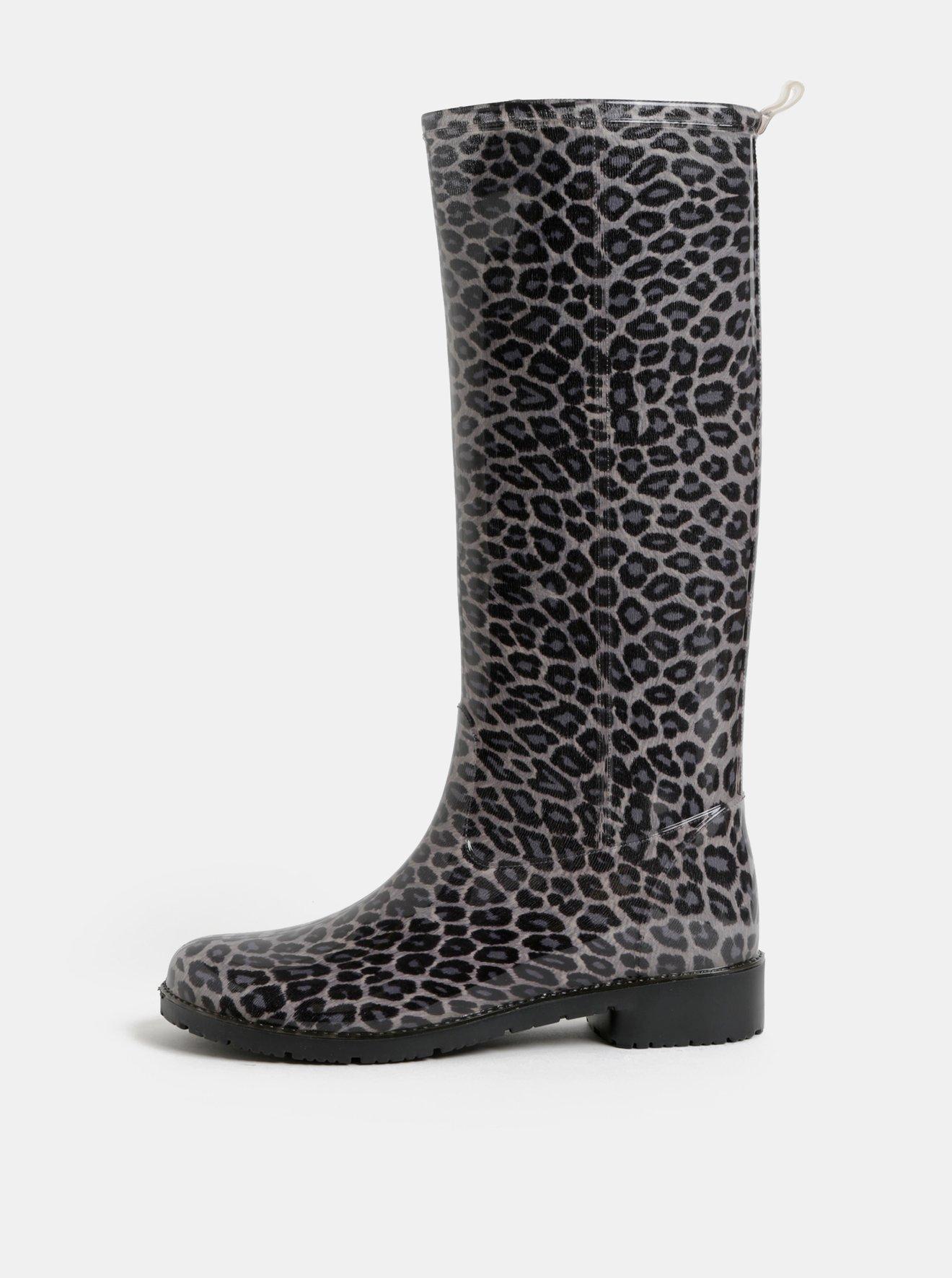 Šedé holínky s leopardím vzorem OJJU