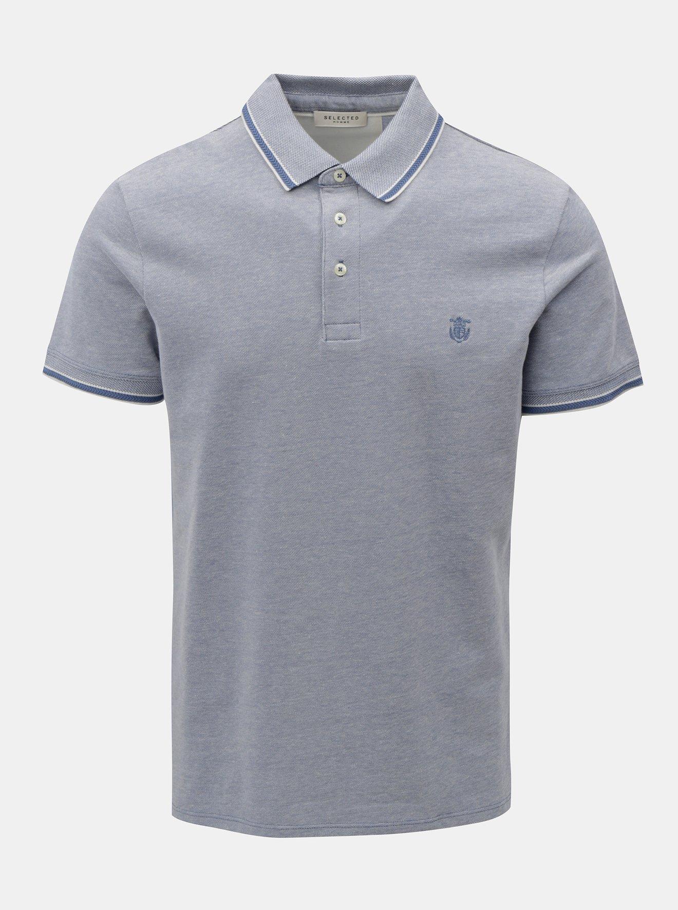 Světle modré žíhané tričko Selected Homme Twist