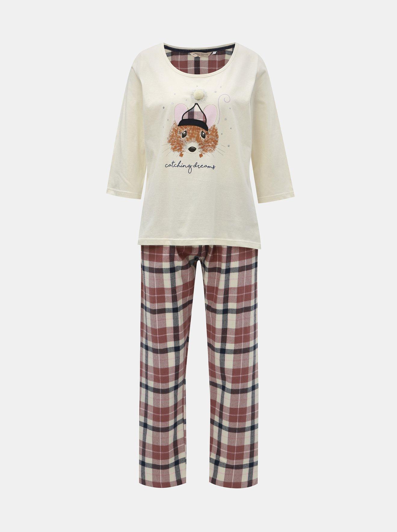 Růžovo-krémové dvoudílné pyžamo s motivem myšky Dorothy Perkins