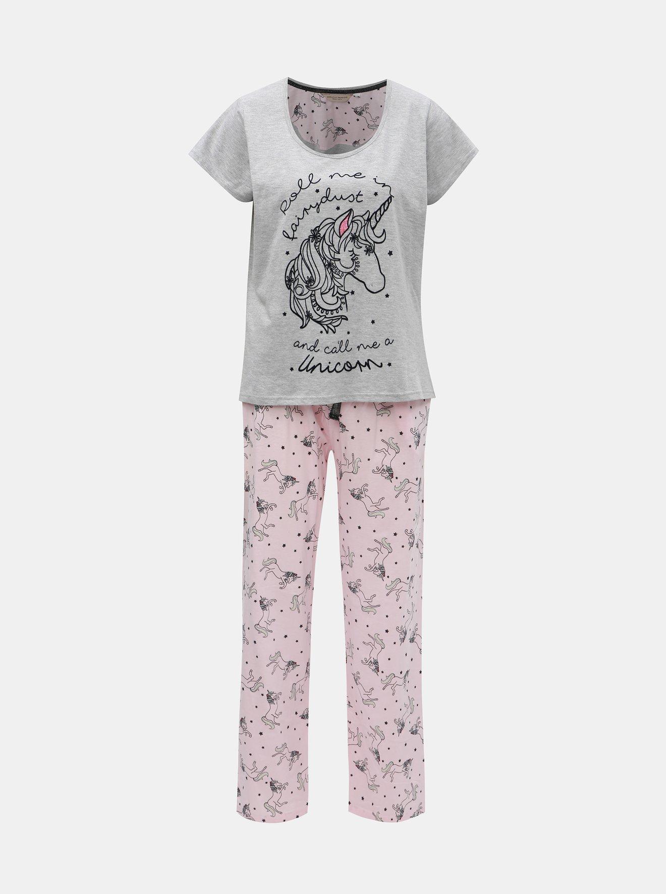 Šedo-růžové dvoudílné pyžamo s motivem jednorožce a sametovými detaily Dorothy Perkins