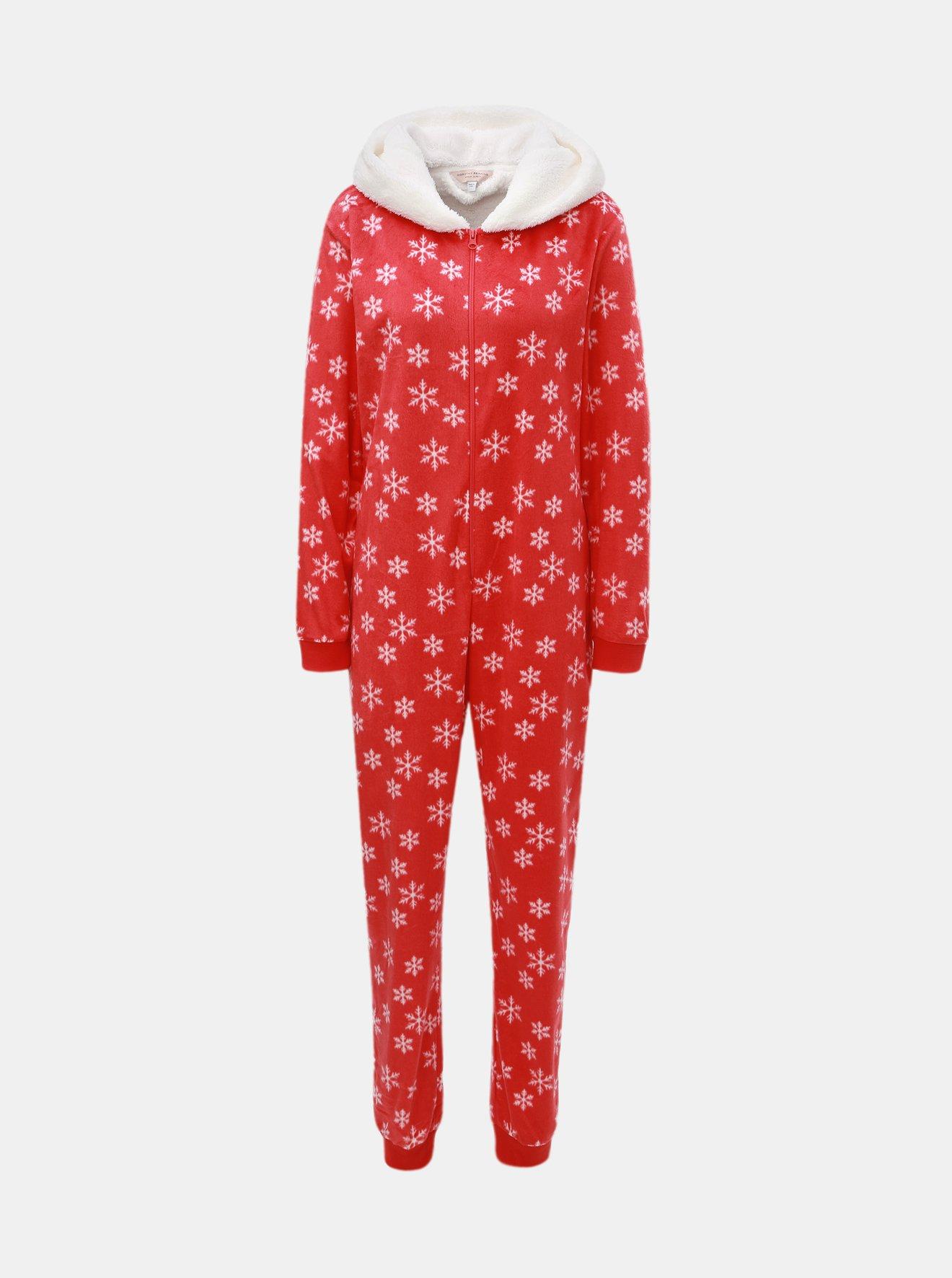 Červený pyžamový overal s motivem vloček Dorothy Perkins