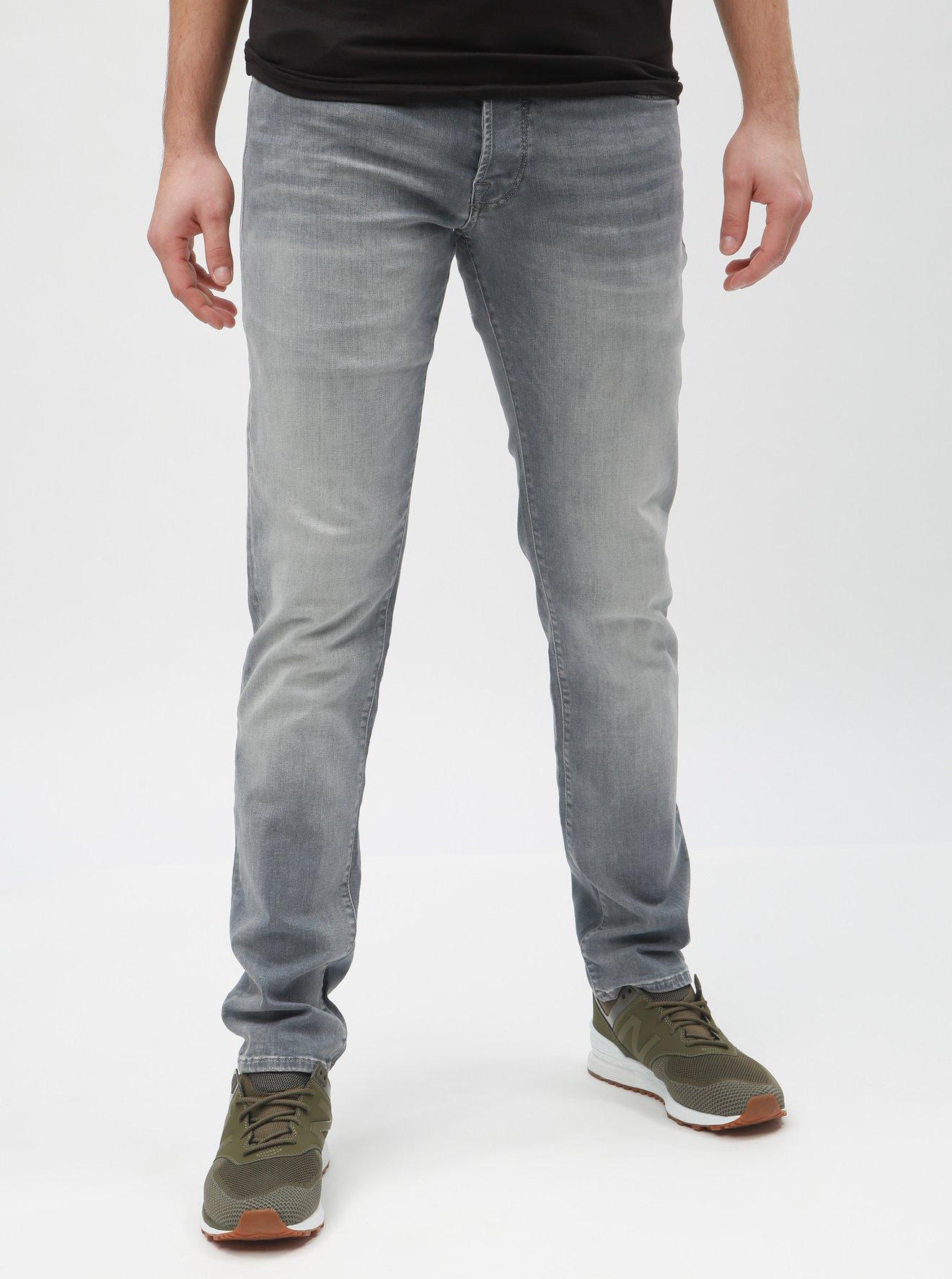 Světle šedé slim fit džíny s vyšisovaným efektem Jack & Jones Glenn