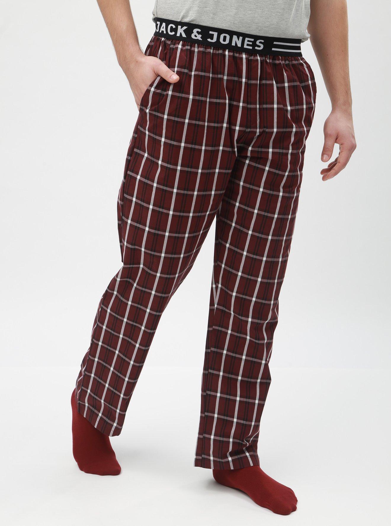 Vínové kostkované pyžamové kalhoty Jack & Jones