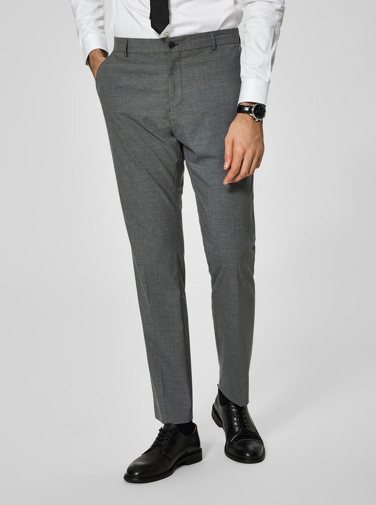 Šedé žíhané oblekové kalhoty Selected Homme New One