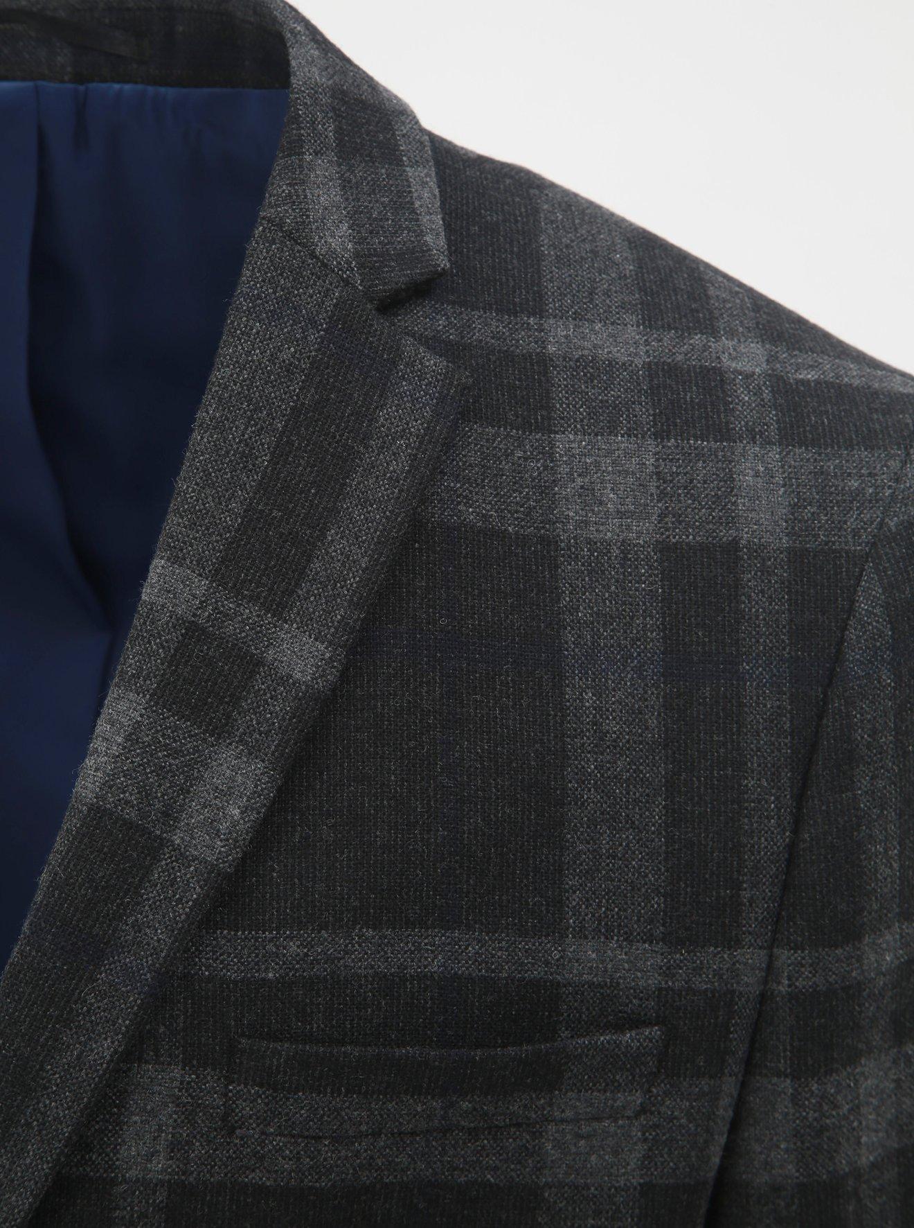 Tmavě šedé vlněné kostkované oblekové sako Selected Homme Mylojole