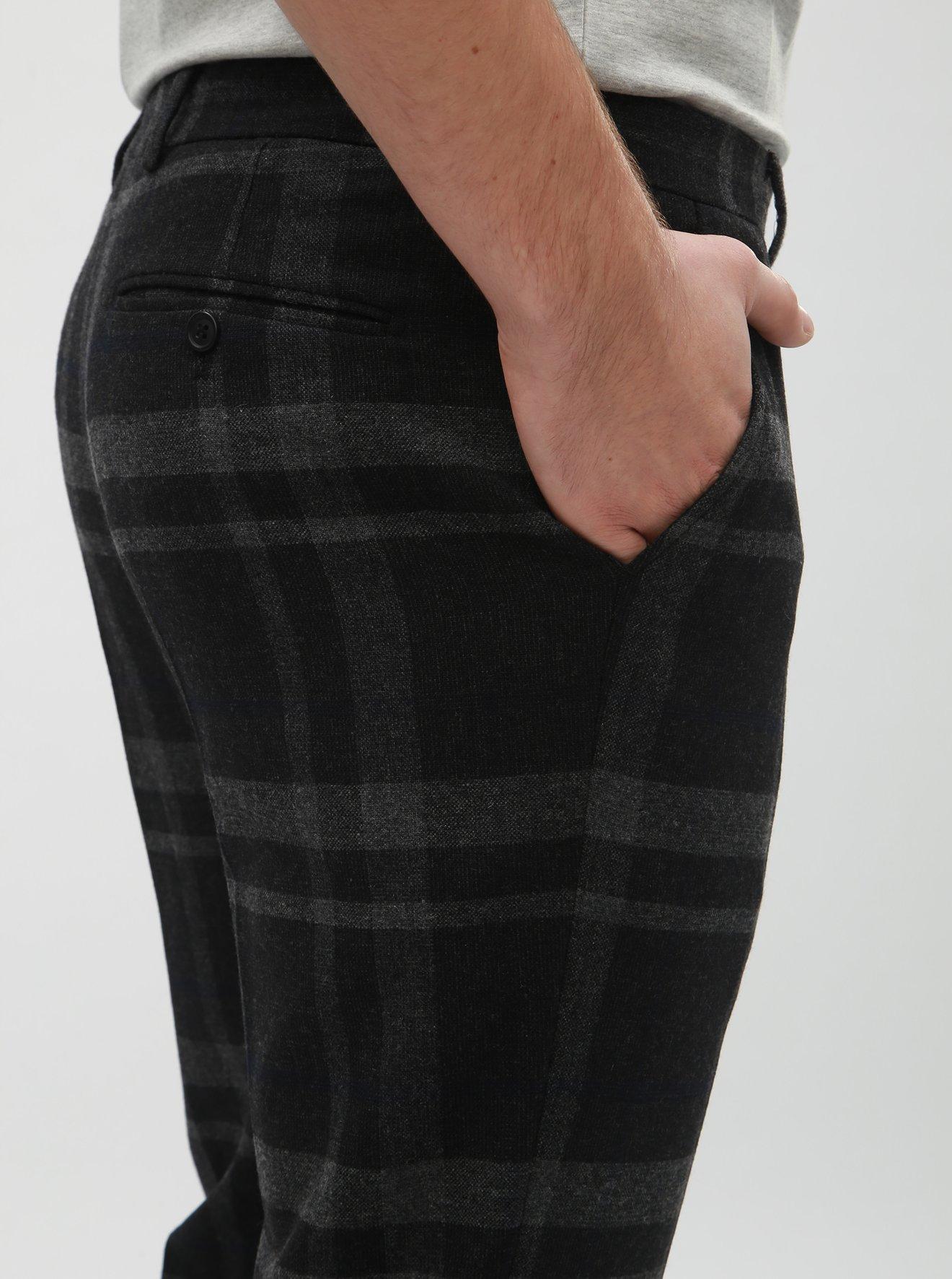 Tmavě šedé vlněné kostkované oblekové kalhoty Selected Homme Mylojole